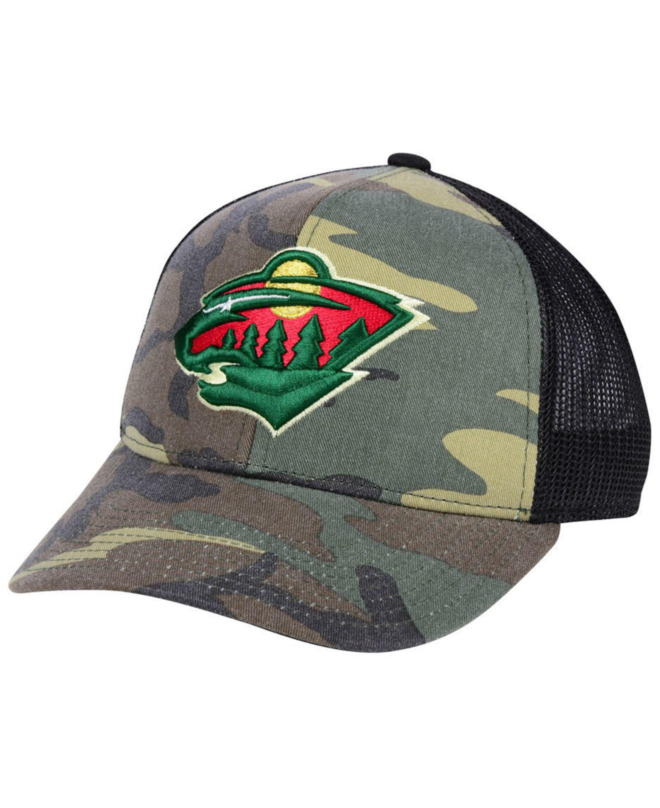 9307591955ff6 Adidas - Green Minnesota Wild Camo Trucker Cap for Men - Lyst. View  fullscreen