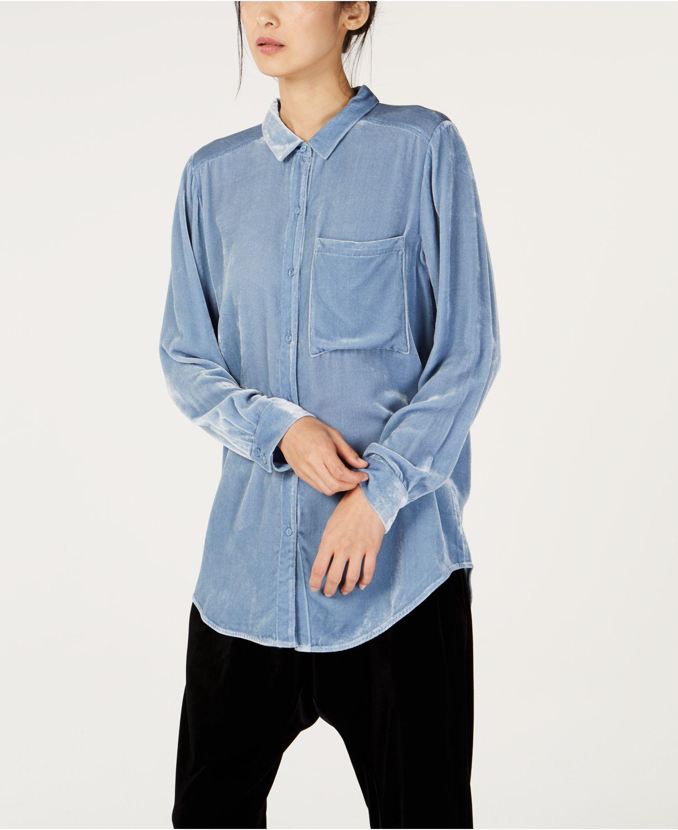 4e8c1787153f1 Lyst - Eileen Fisher Velvet Button-up Shirt