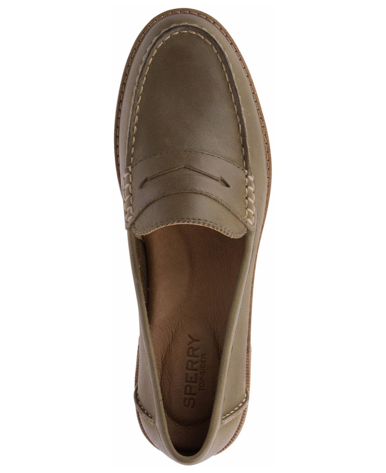 Sperry Top-Sider Leather Seaport Penny Loafer in Olive ...