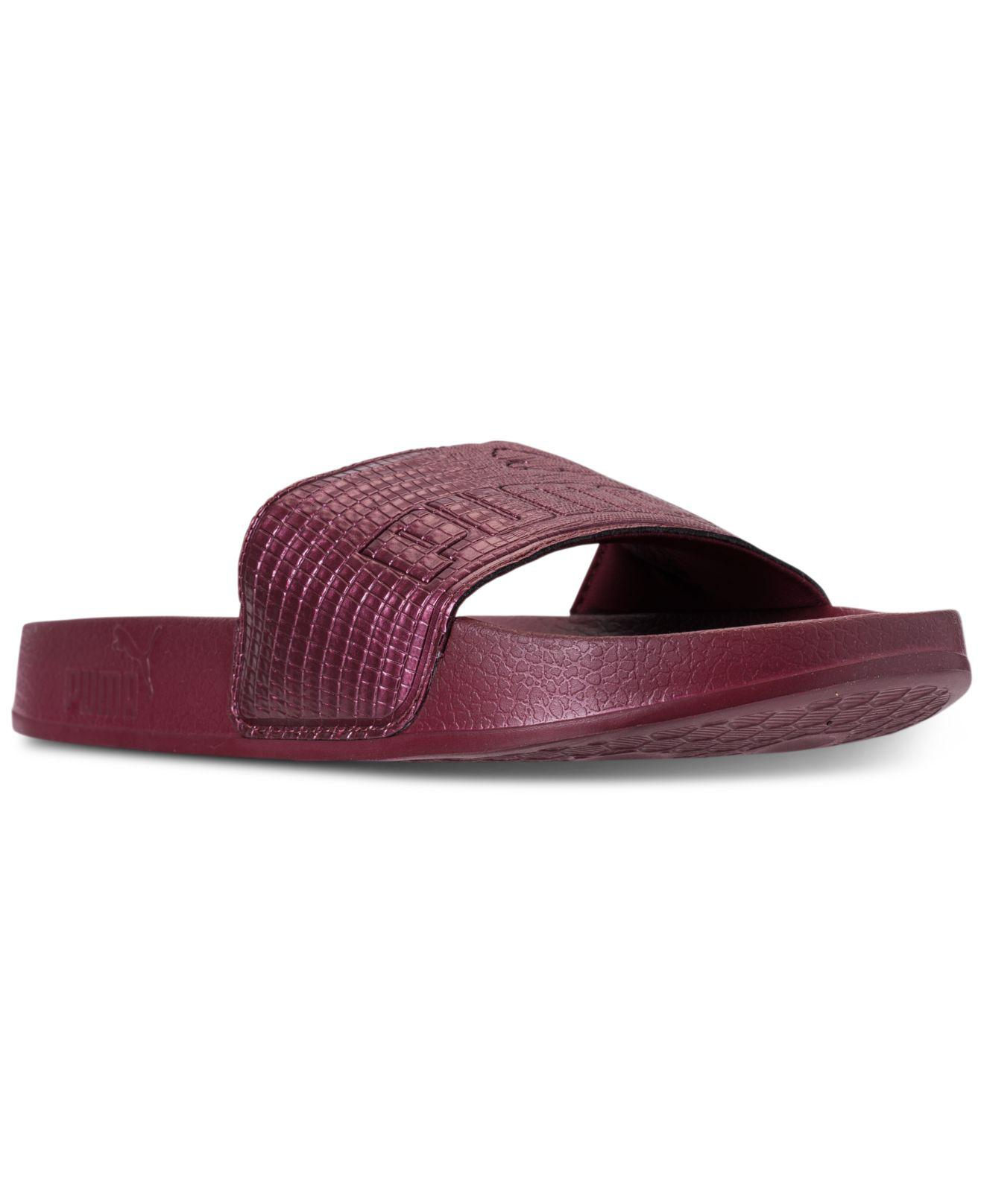 Lyst - PUMA Women s Leadcat Leather Slide Sandals From Finish Line ... 0b07b0645