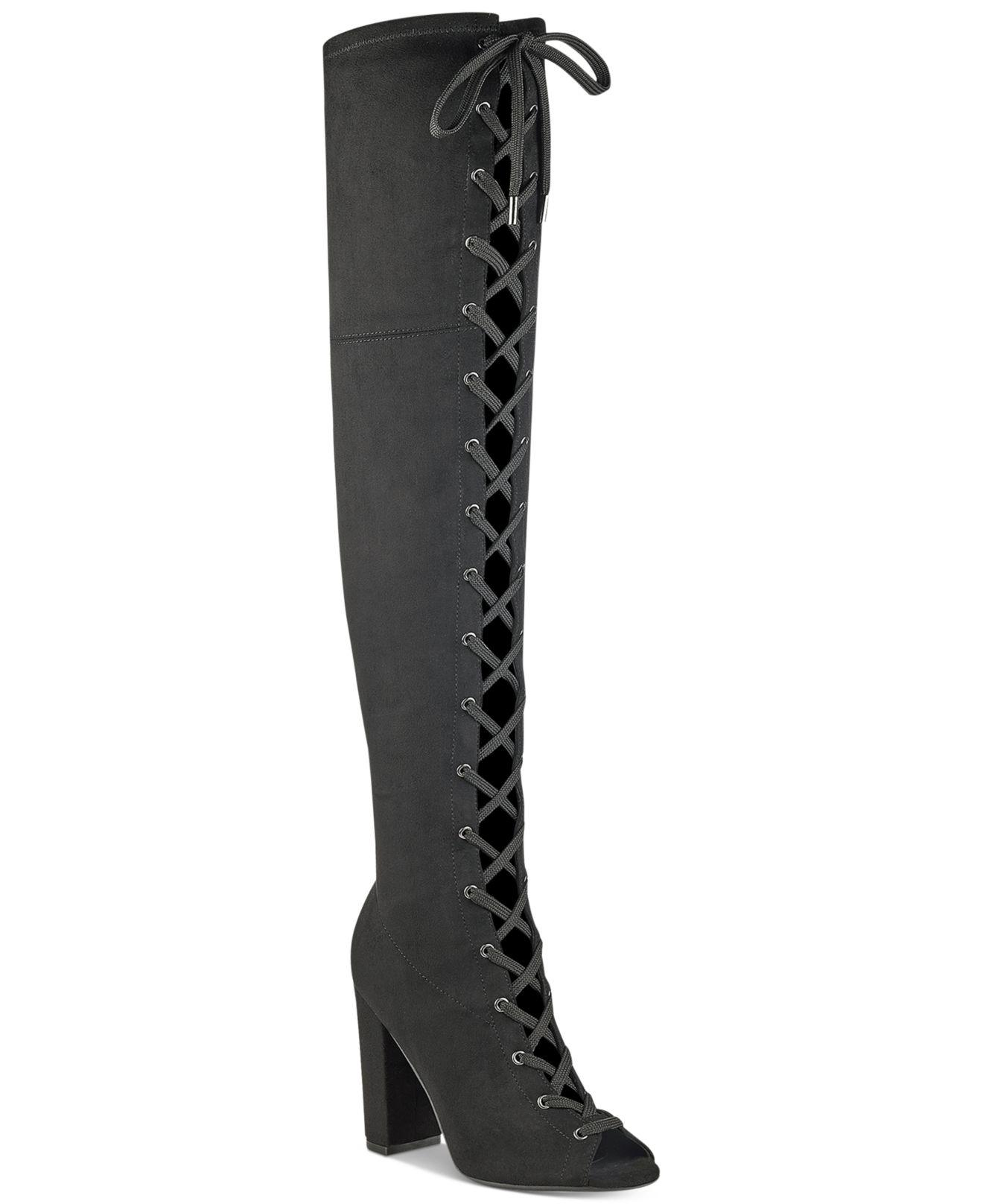 ea394988140 Lyst - Guess Women s Casidi Lace-up Over-the-knee Boots in Black