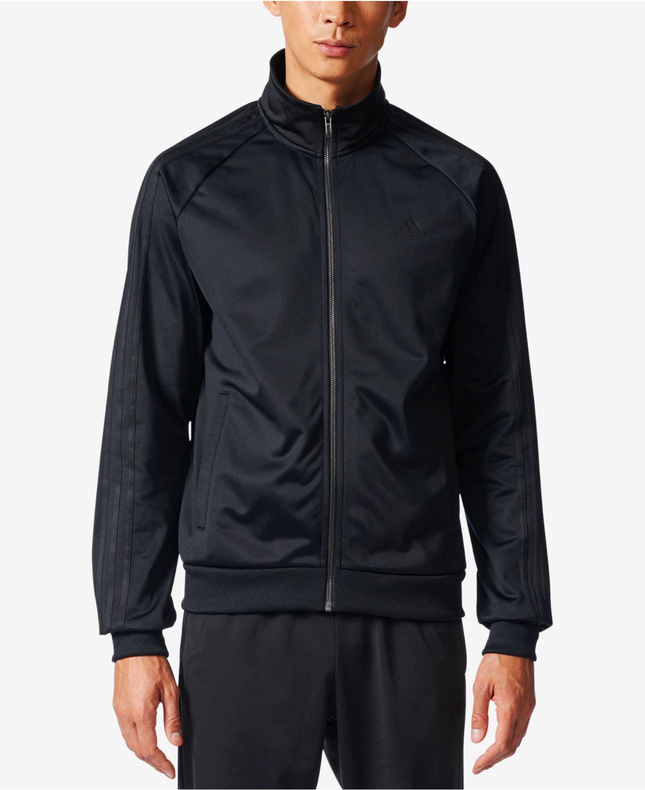 Lyst adidas hombres chaqueta de calentamiento tres rayas en negro para hombres
