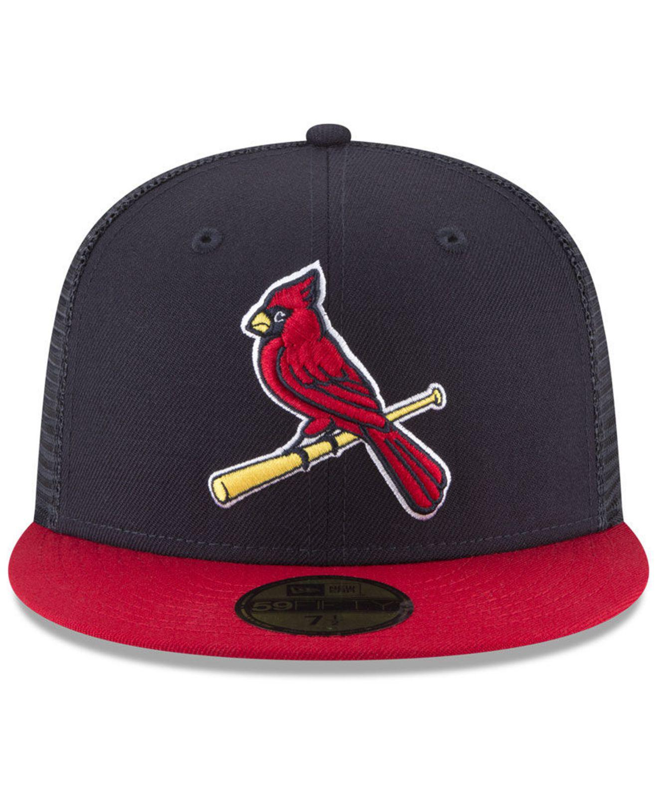 promo code 033d0 6ef83 closeout lyst ktz st. louis cardinals on field mesh back 59fifty fitted cap  in blue