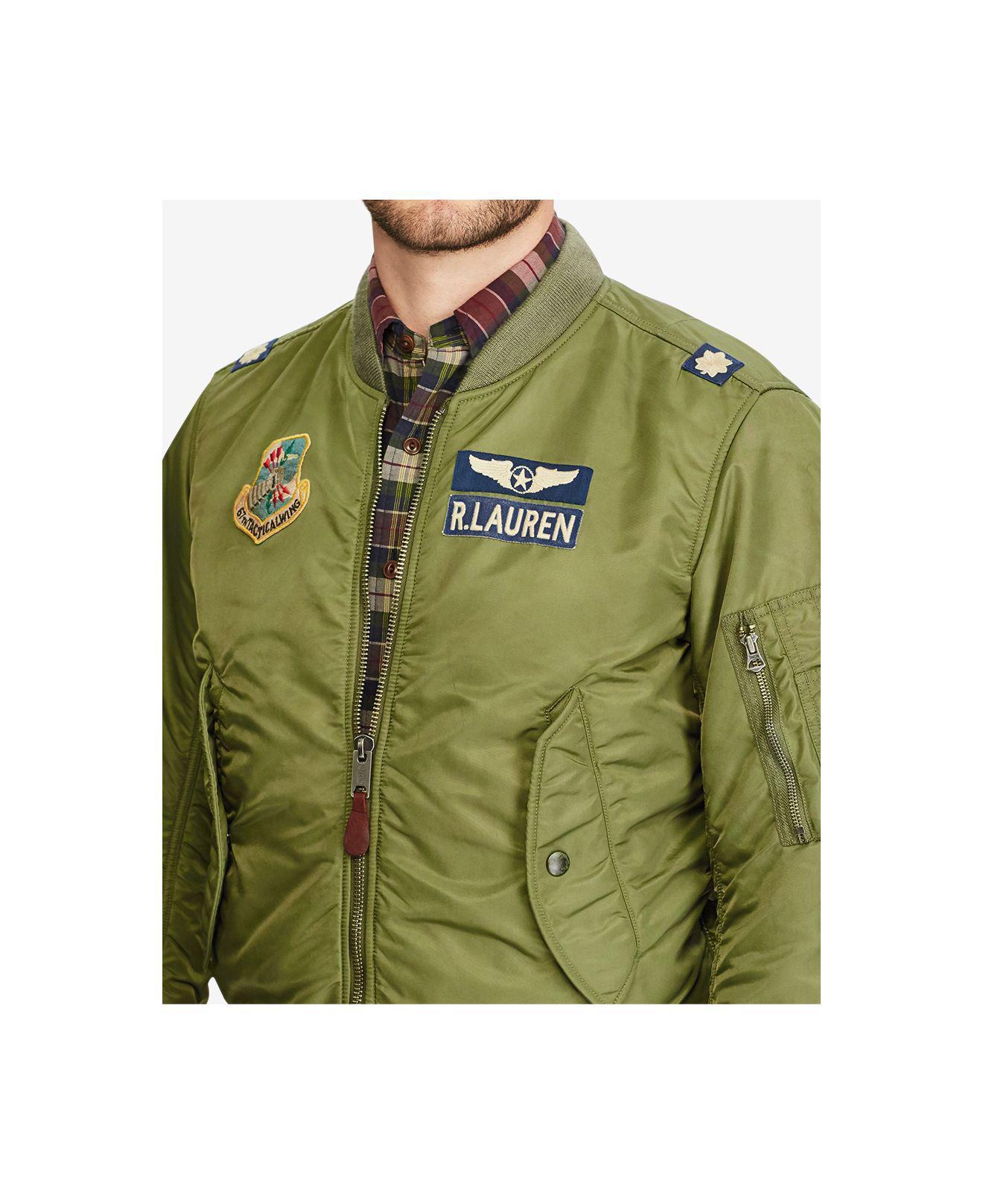 polo ralph lauren men 39 s iconic ma 1 bomber jacket in green for men lyst. Black Bedroom Furniture Sets. Home Design Ideas