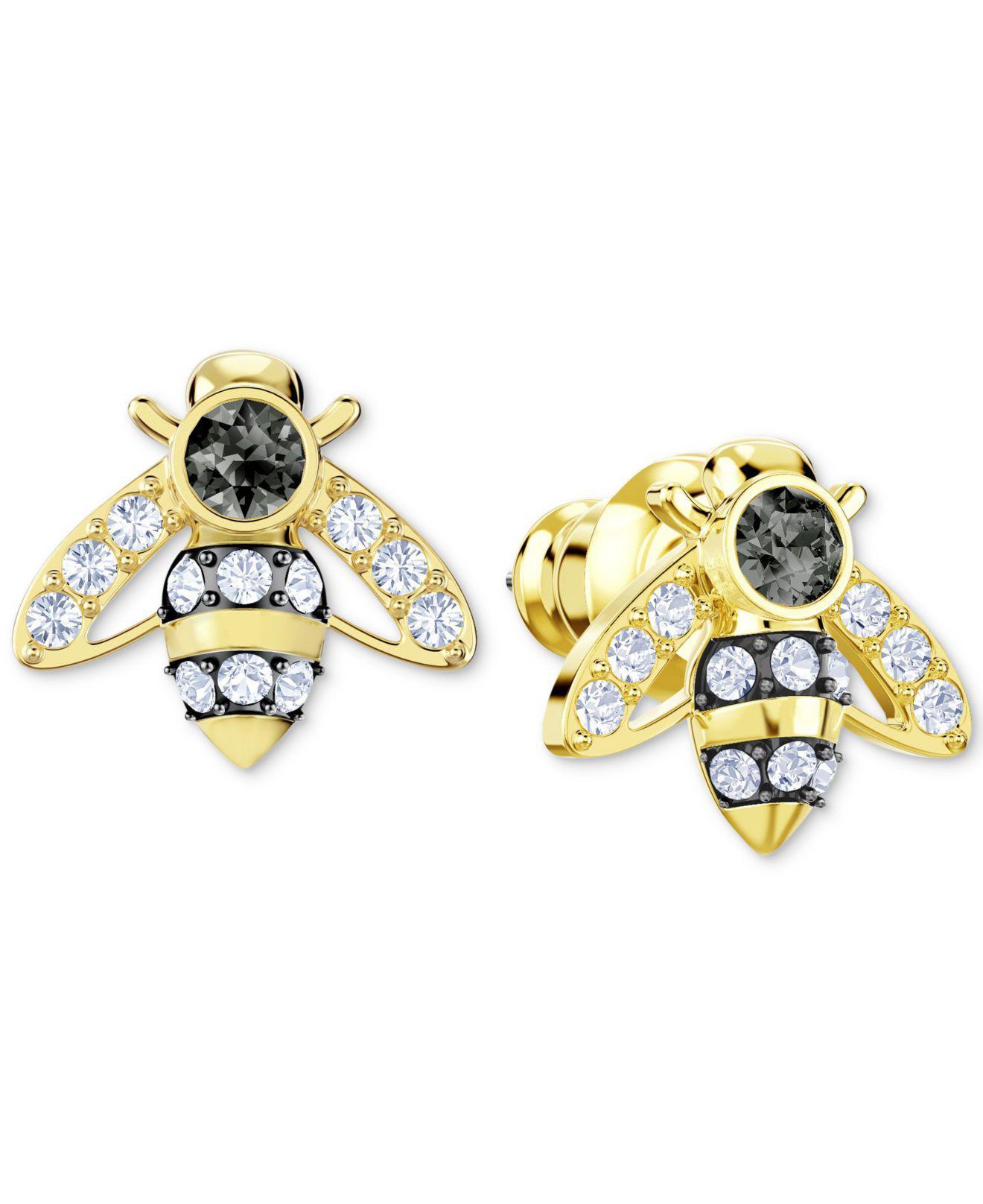 Gold Tone Crystal Bee Stud Earrings