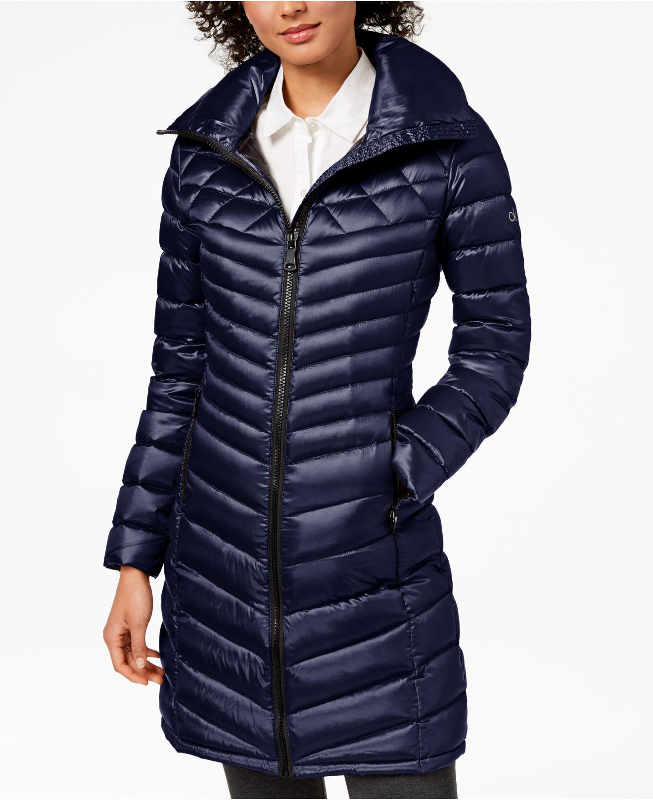 61a0d7098096 Lyst - Calvin Klein Hooded Packable Down Puffer Coat in Blue