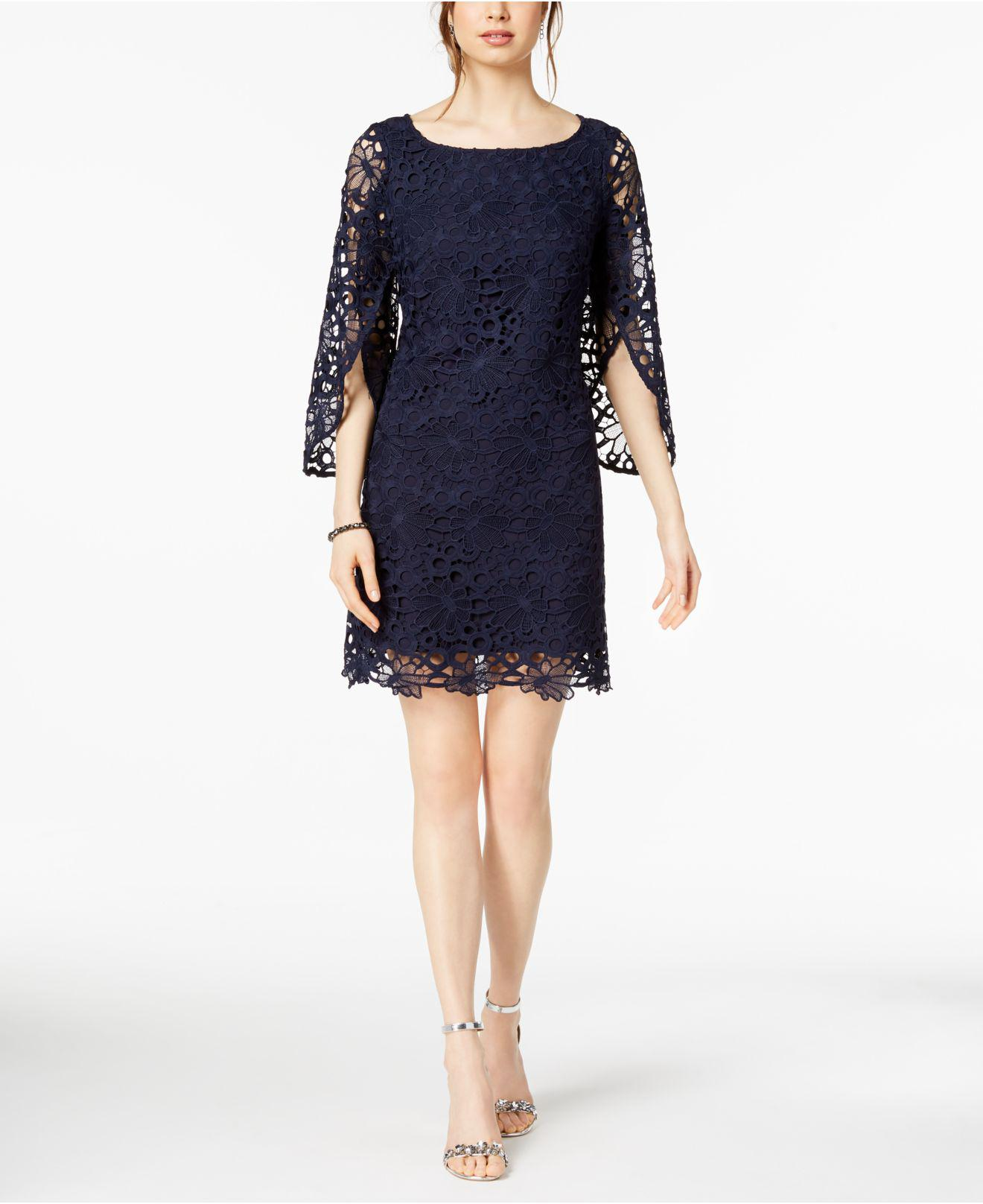 Nanette Lepore Nanette By Bell Sleeve Lace Dress In Blue