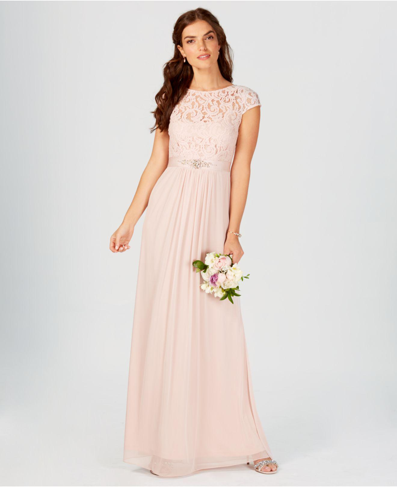 249801f591d7 Lyst - Adrianna Papell Illusion Lace Gown in Pink