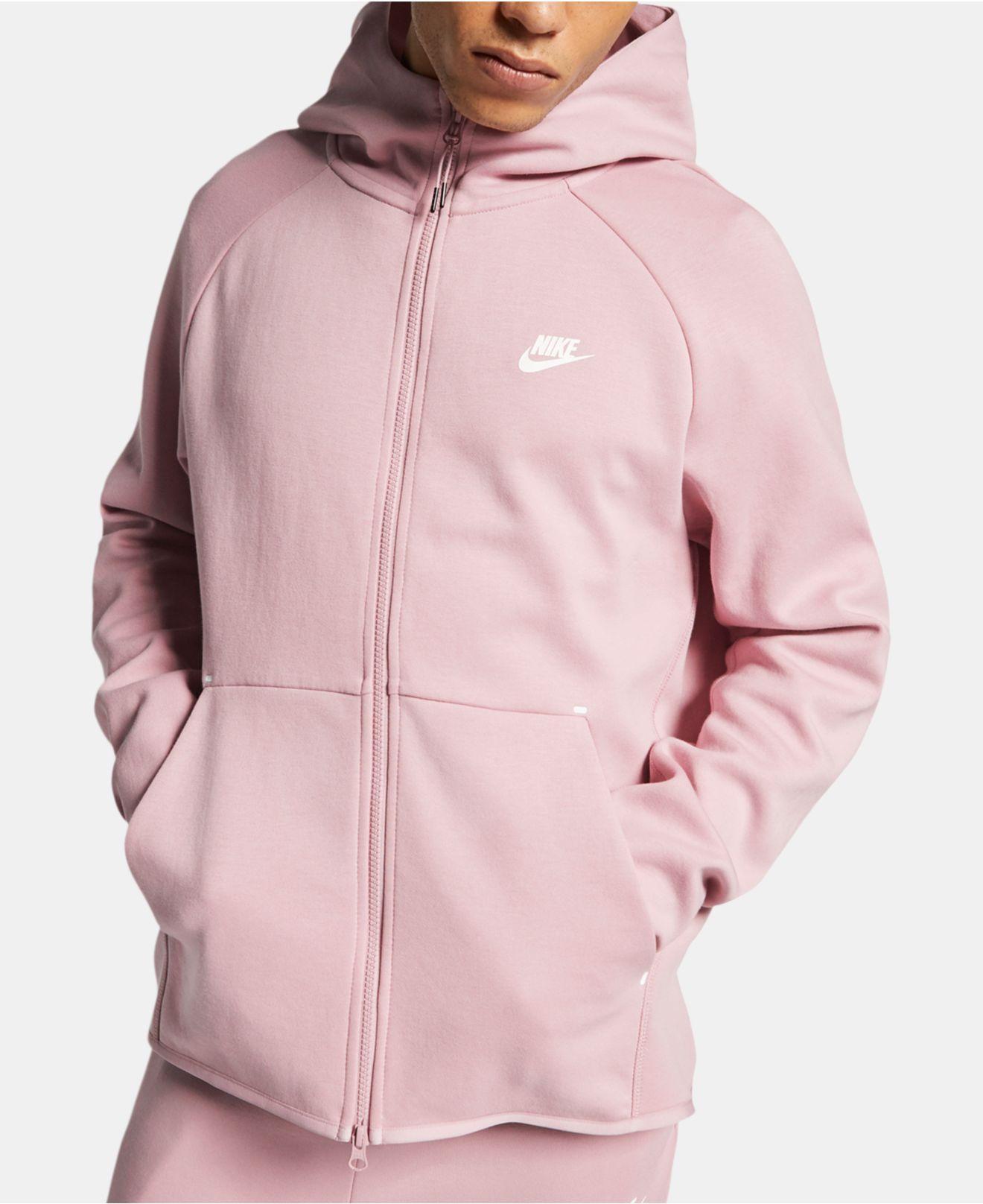 Nike Sportswear Cotton Blend Tech Fleece Zip Up Hoodie In Lilac Pink For Men Lyst