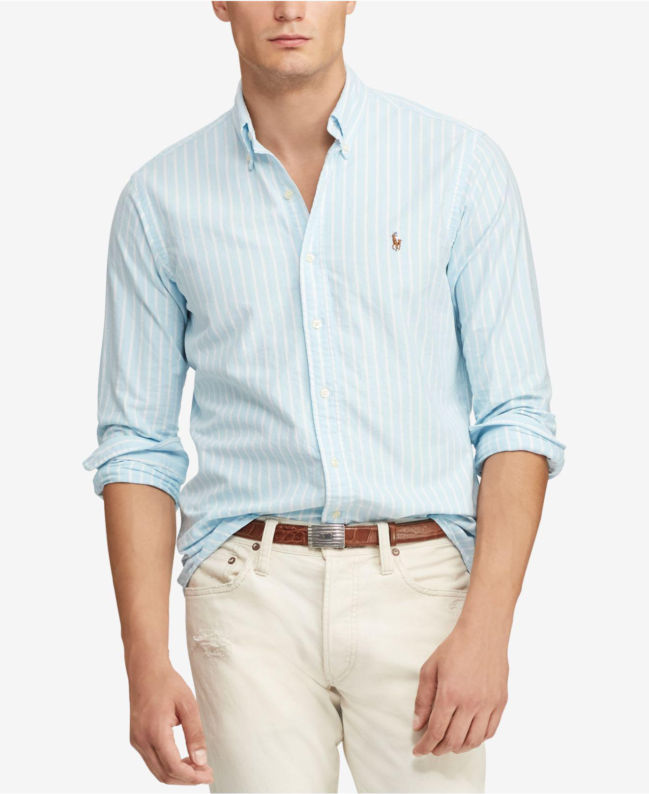 0a774a0cef8 Lyst - Polo Ralph Lauren Classic Fit Striped Shirt in Blue for Men ...