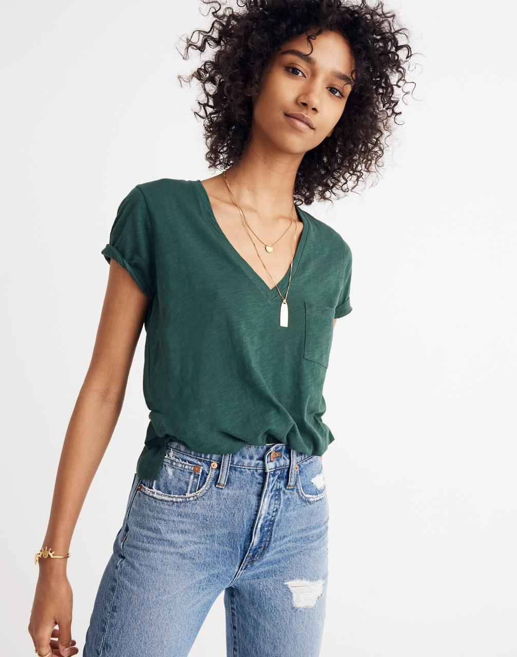 f271d9d47aa4cc Lyst - Madewell Whisper Cotton V-neck Pocket T-shirt in Green