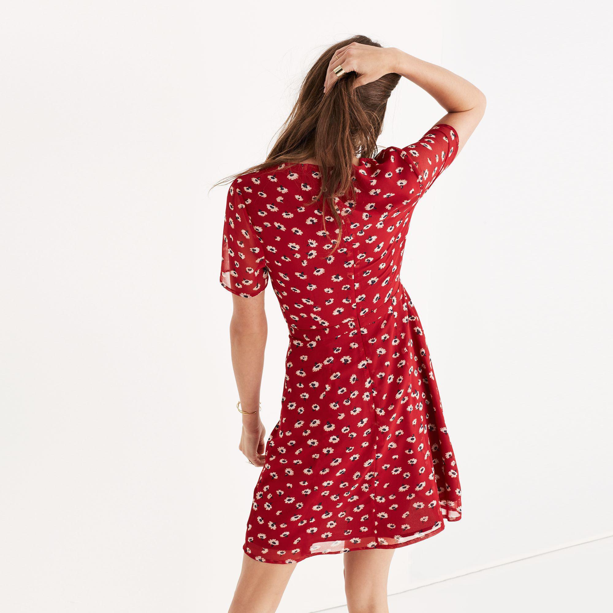 ee50bd59532 Madewell Wrap-front Mini Dress In Seattle Floral in Red - Lyst