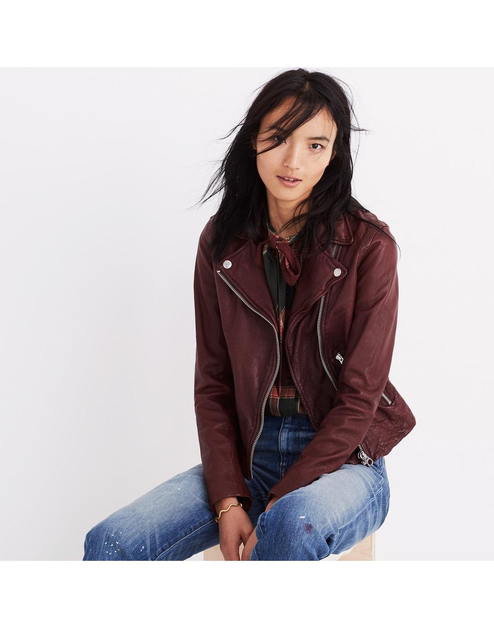 best place free delivery differently Madewell Washed Leather Motorcycle Jacket - Lyst