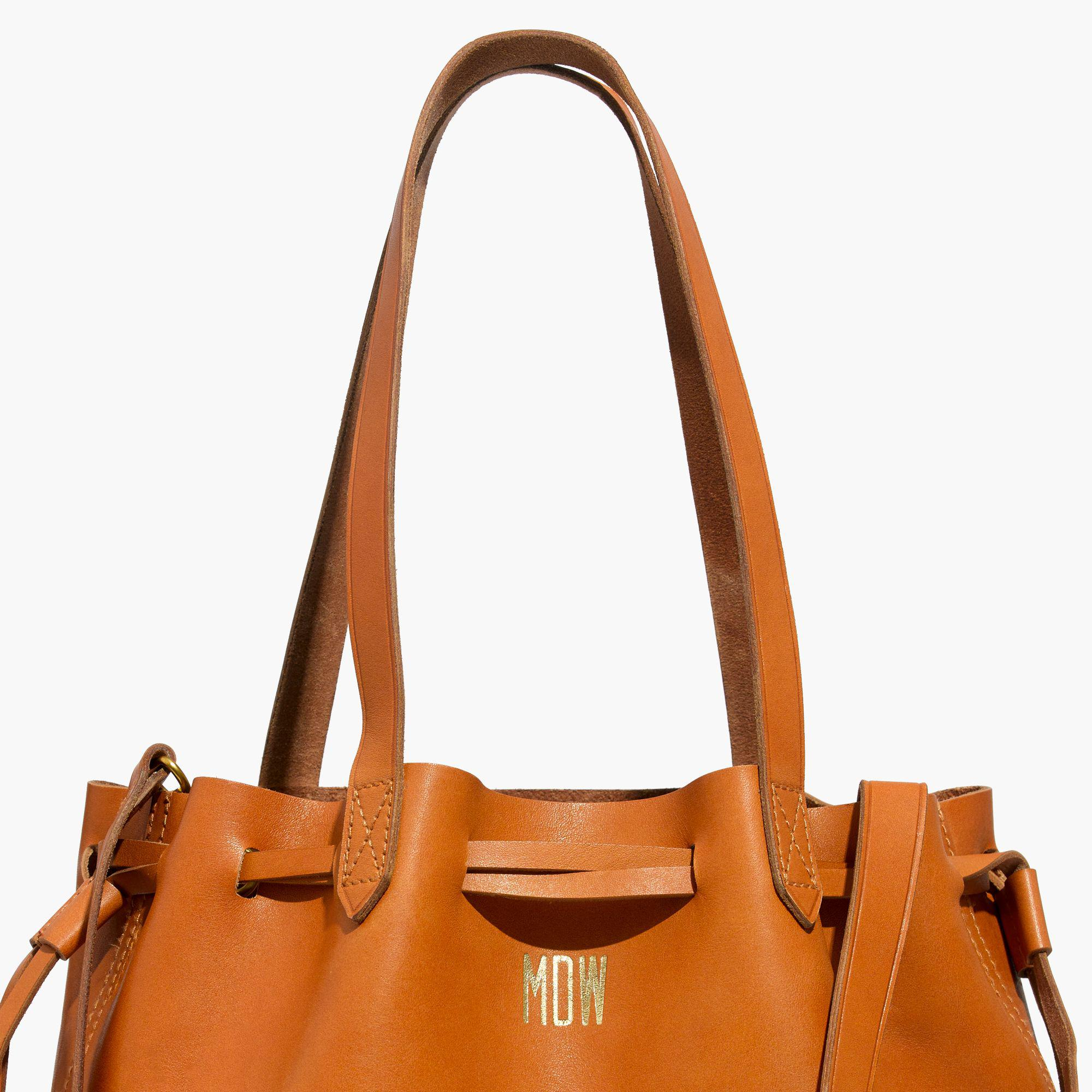 Madewell Leather The Medium Drawstring Transport Tote In Cider