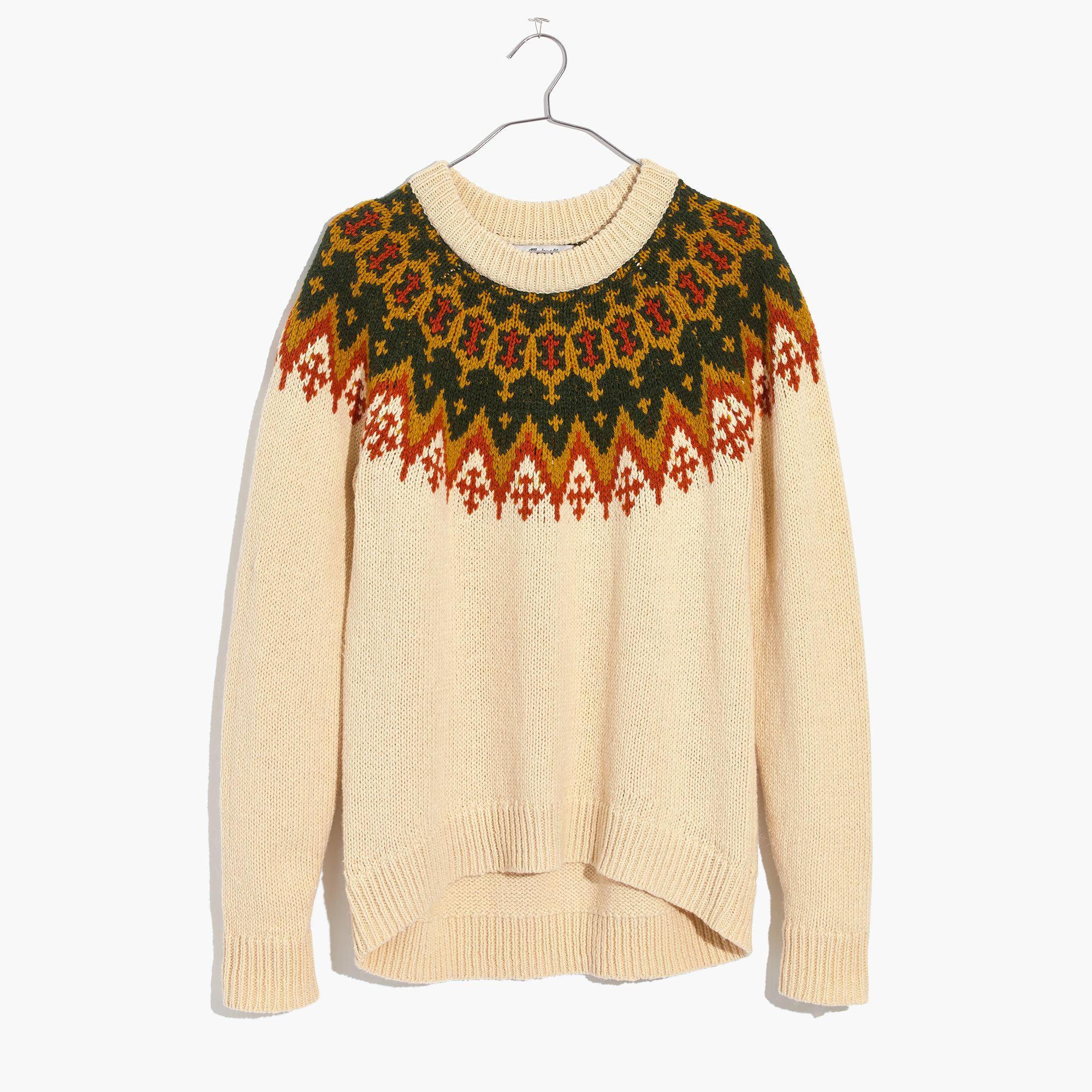 lyst madewell fair isle pullover sweater. Black Bedroom Furniture Sets. Home Design Ideas