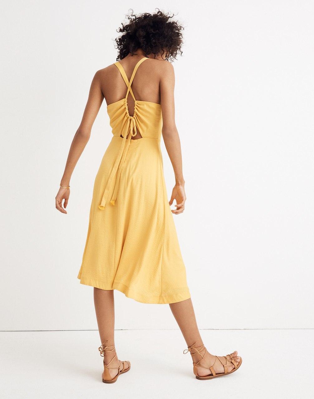 53587add47 Lyst - Madewell Cross-back Midi Dress in Yellow