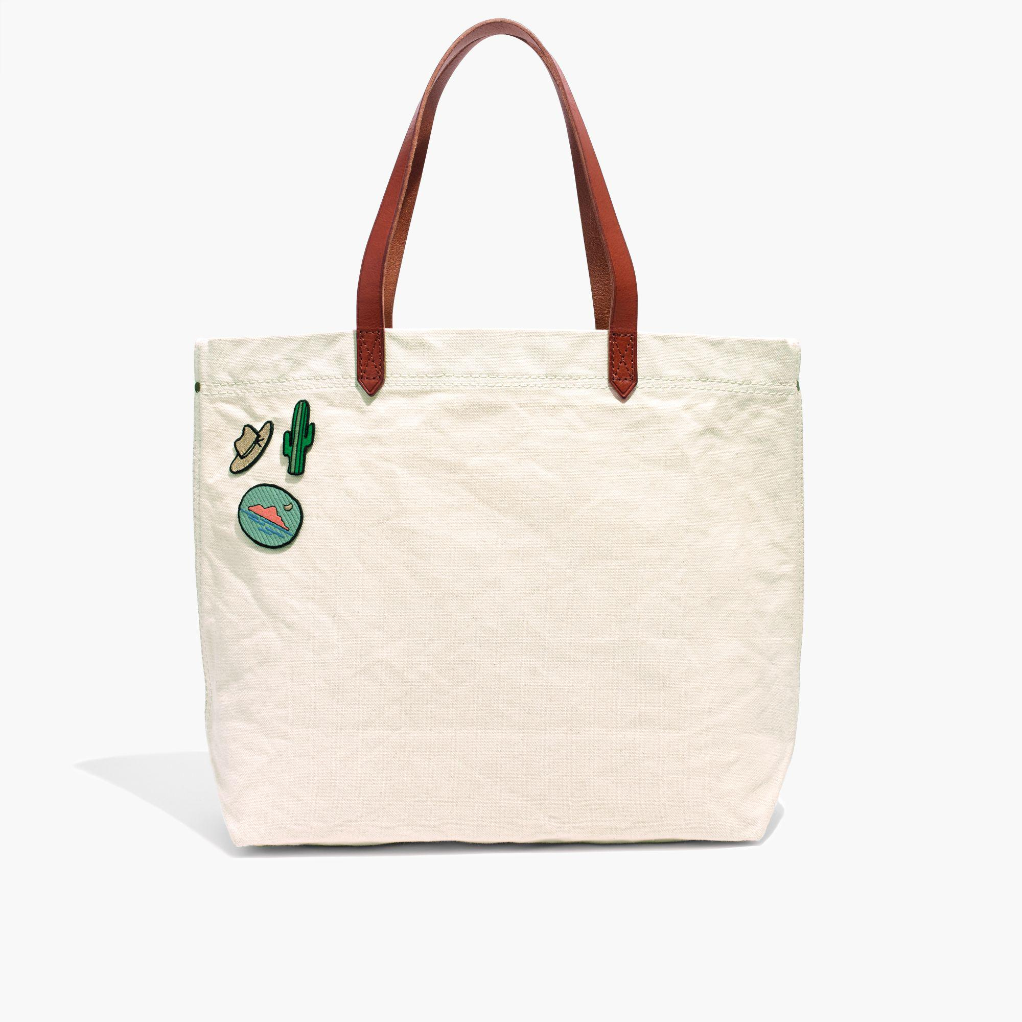 Lyst - Madewell The Canvas Transport Tote in White 3957f02813f1f