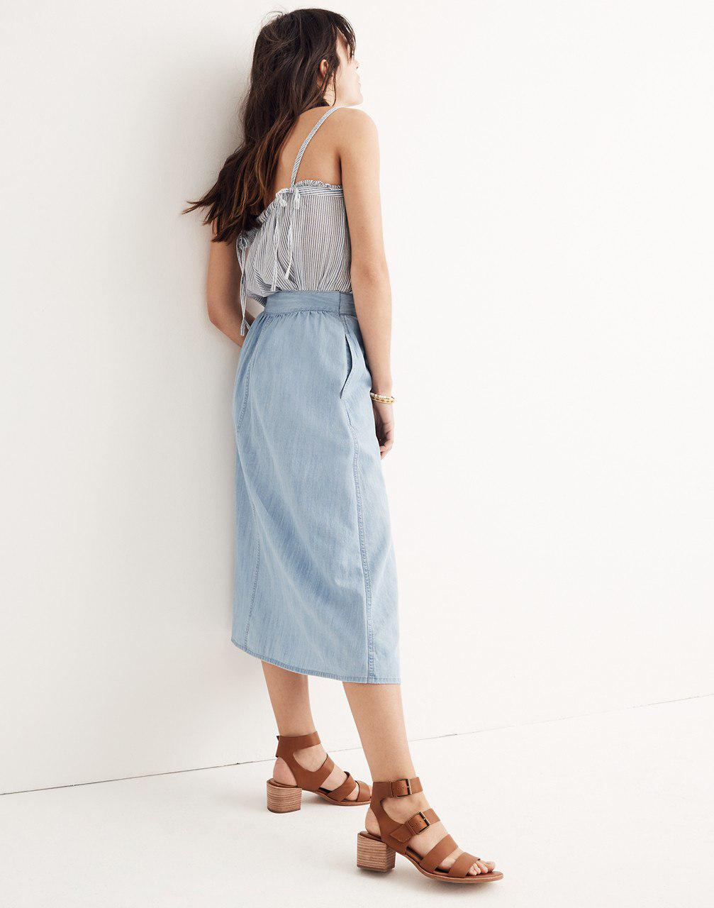 359a9bfb2 Madewell Palisade Chambray Stripe Button Front Midi Skirt
