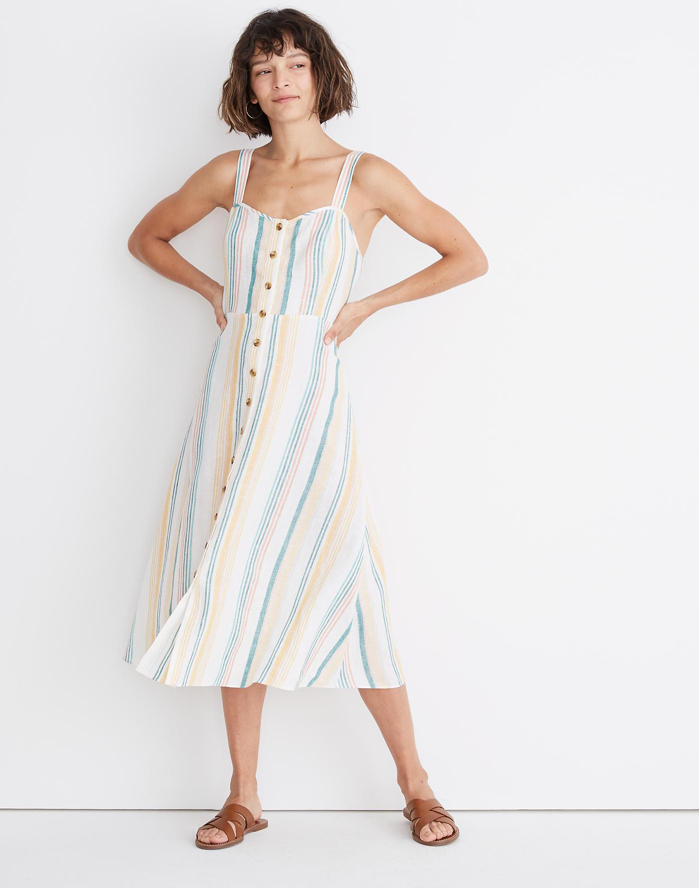 e263d061699 Lyst - Madewell Linen Fitted-bodice Midi Dress In Rainbow Stripe
