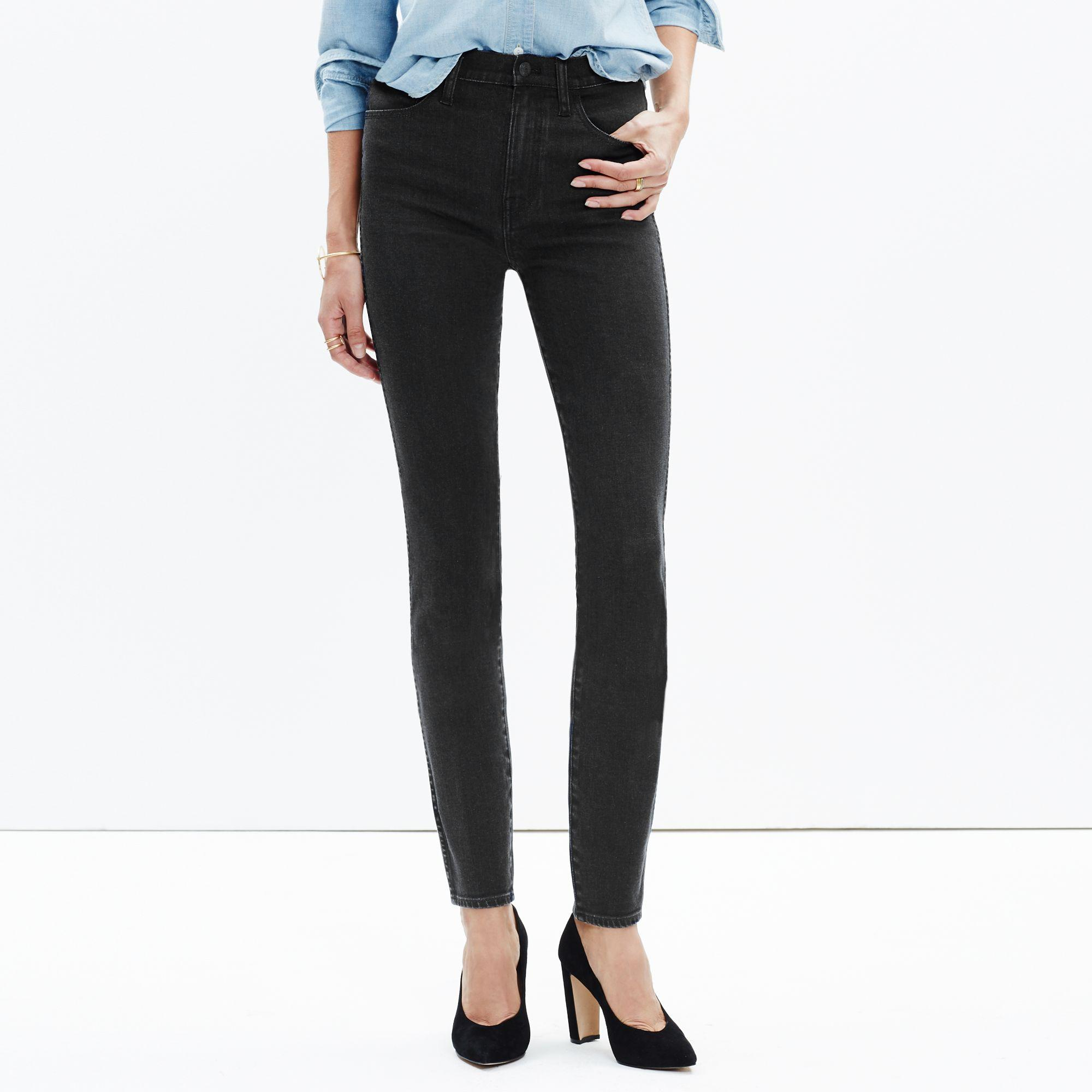 "Madewell Denim Tall 10"" High-rise Skinny Jeans In Captain Wash in Black"