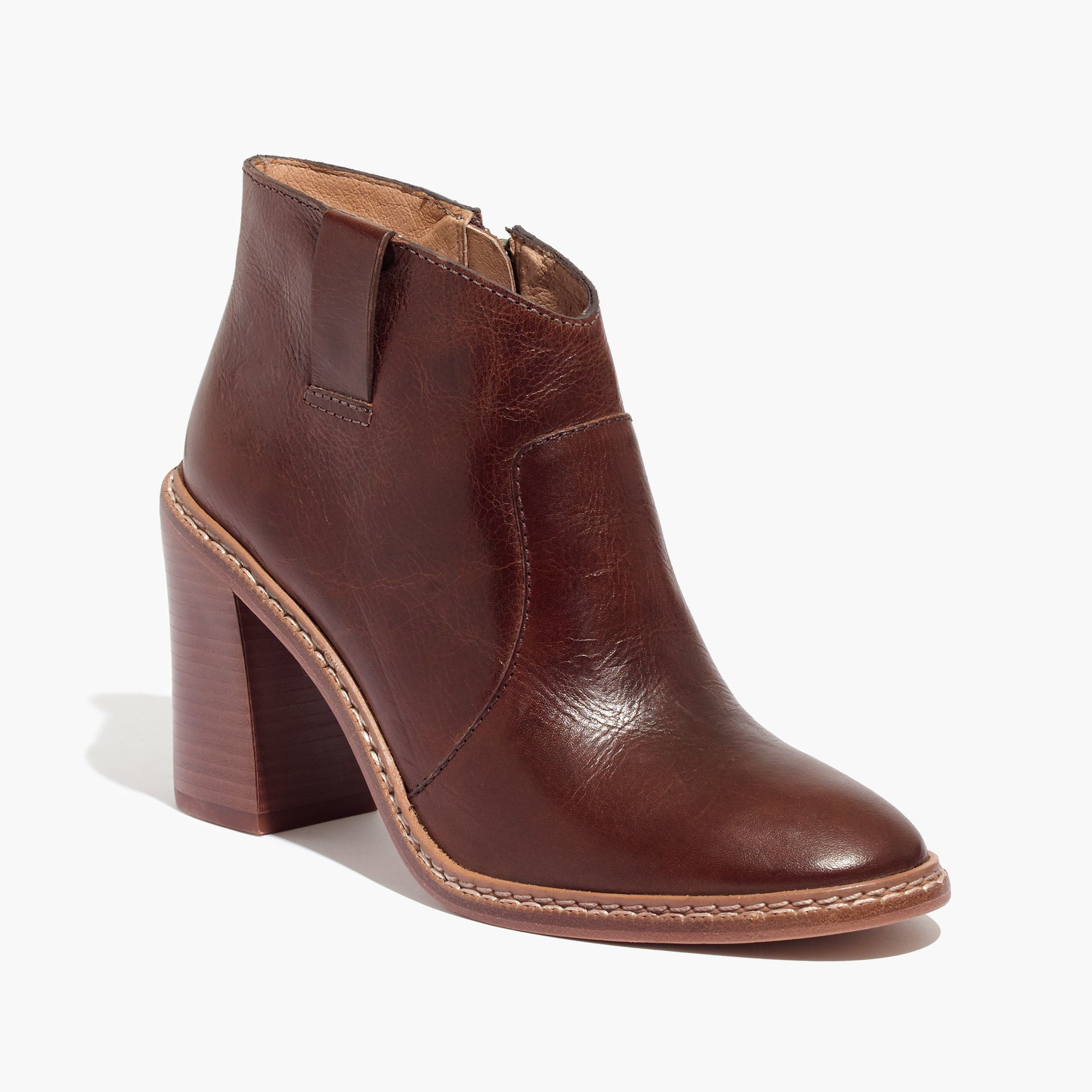 madewell rivet thread ankle boots in brown lyst