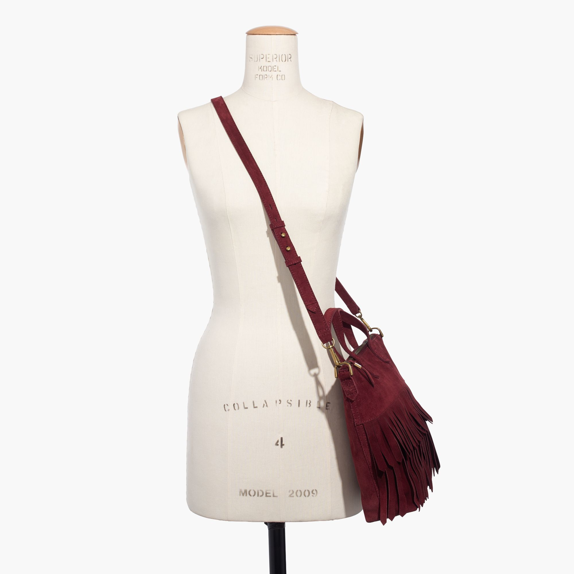 Madewell The Transport Crossbody: Suede Fringe Edition in Red