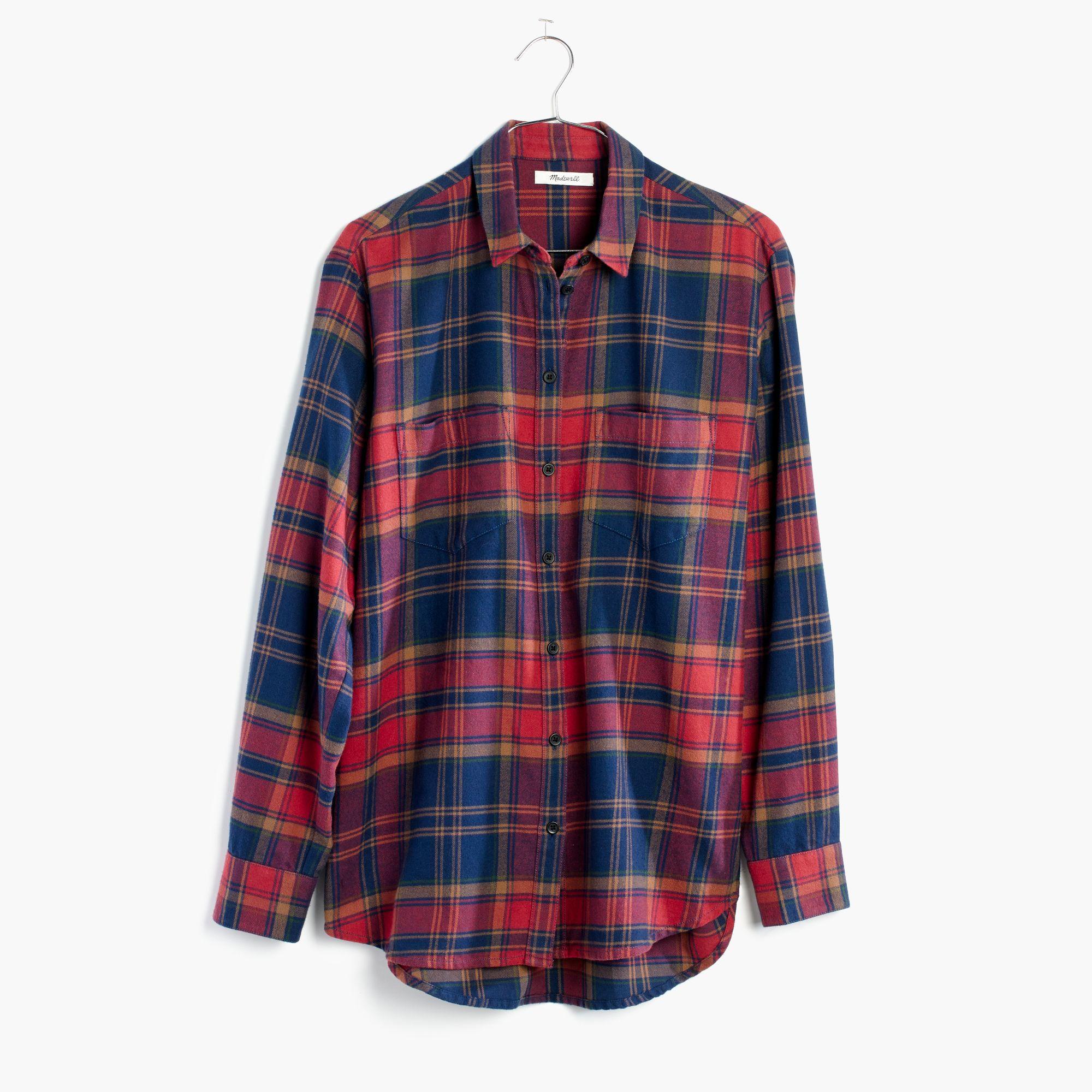 Madewell Flannel Oversized Ex Boyfriend Shirt In Lewis