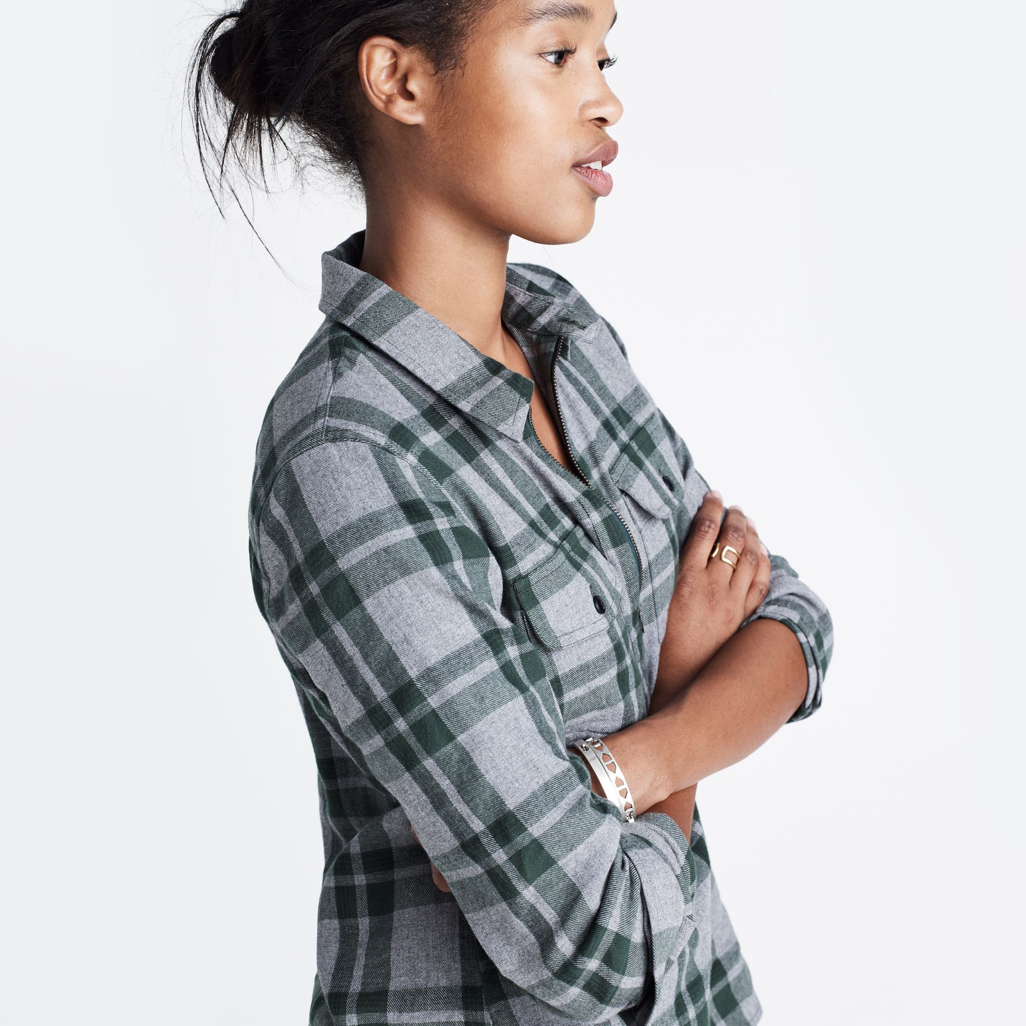 Lyst madewell flannel zip front popover shirt in for Zip front flannel shirt