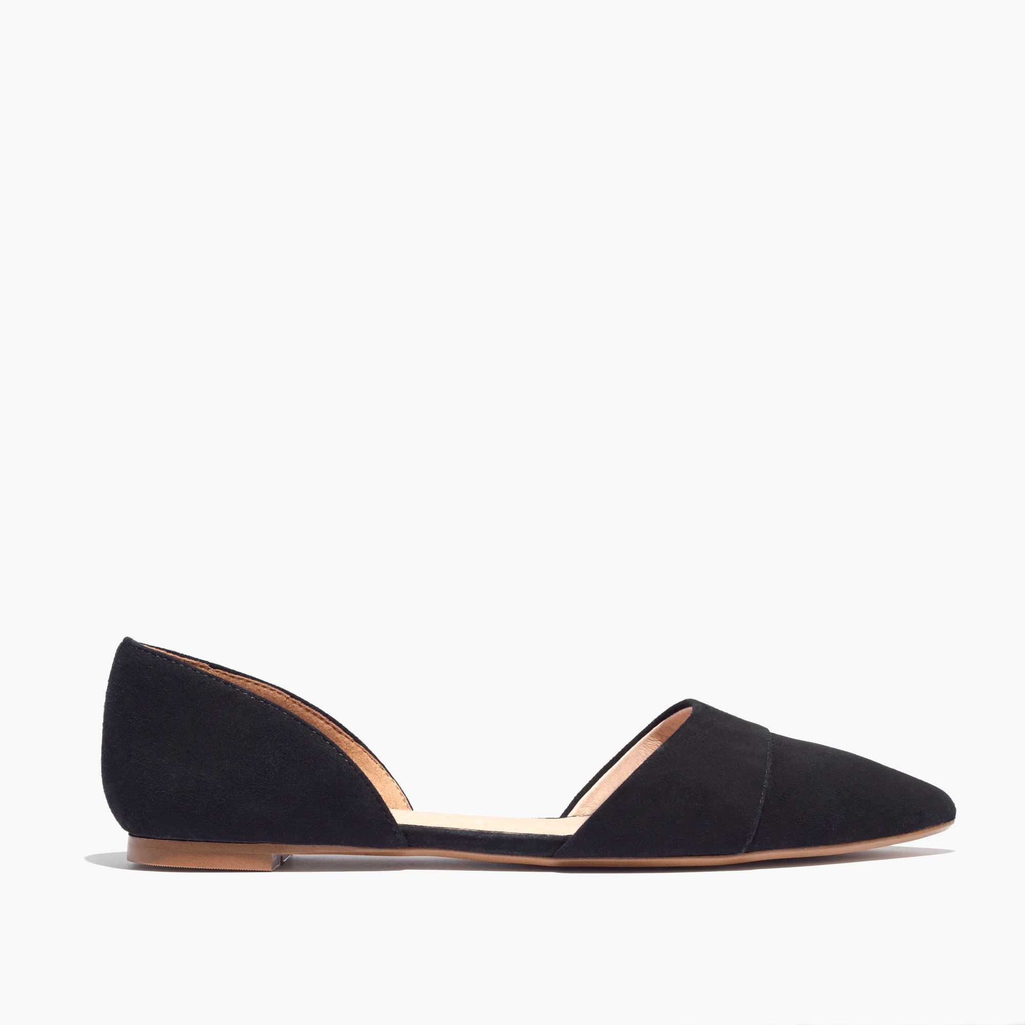 Madewell The D Orsay Flat In Suede In Black Lyst