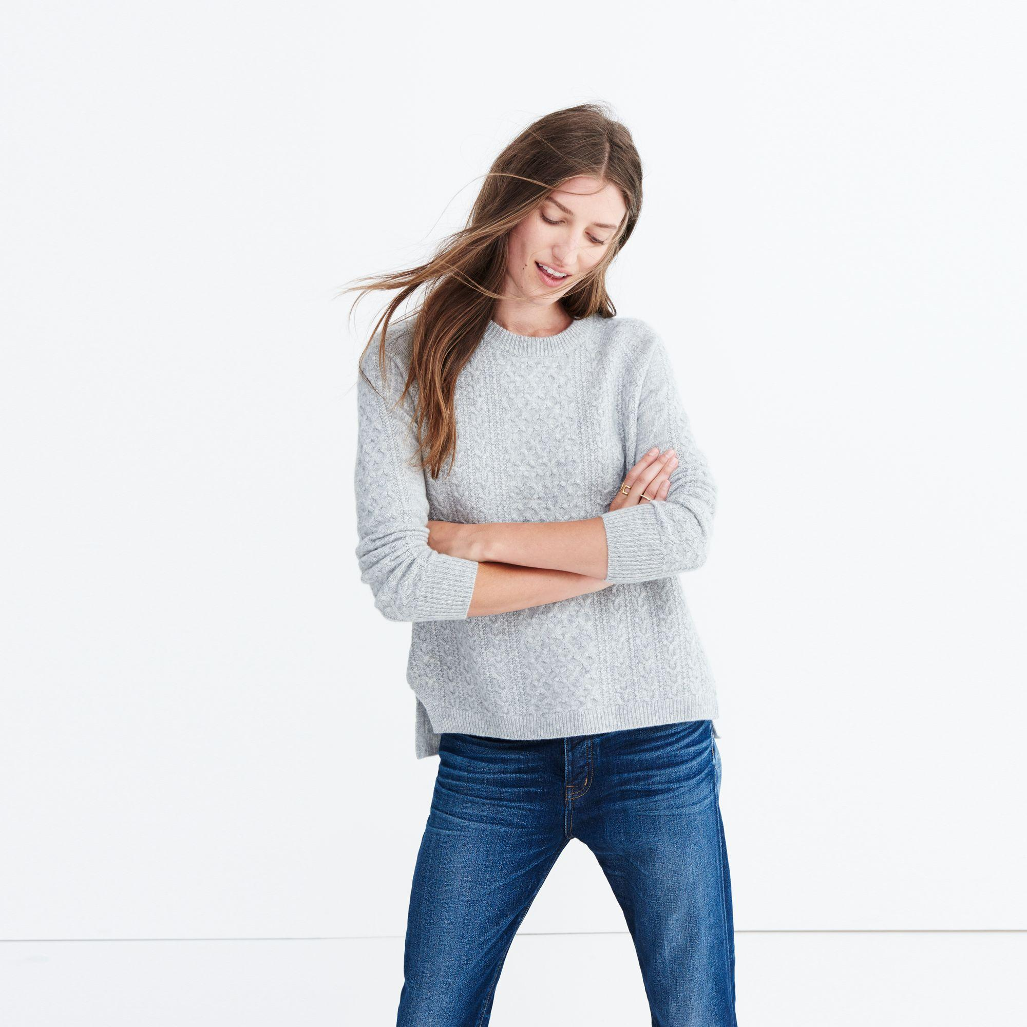Madewell Cashmere Convertible Turtleneck Sweater In Cableknit in Grey