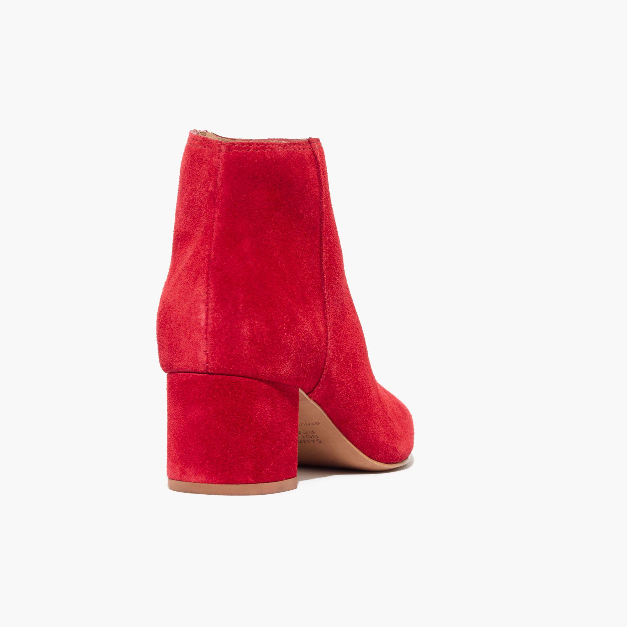 Madewell The Lucien Boot In Suede in Red