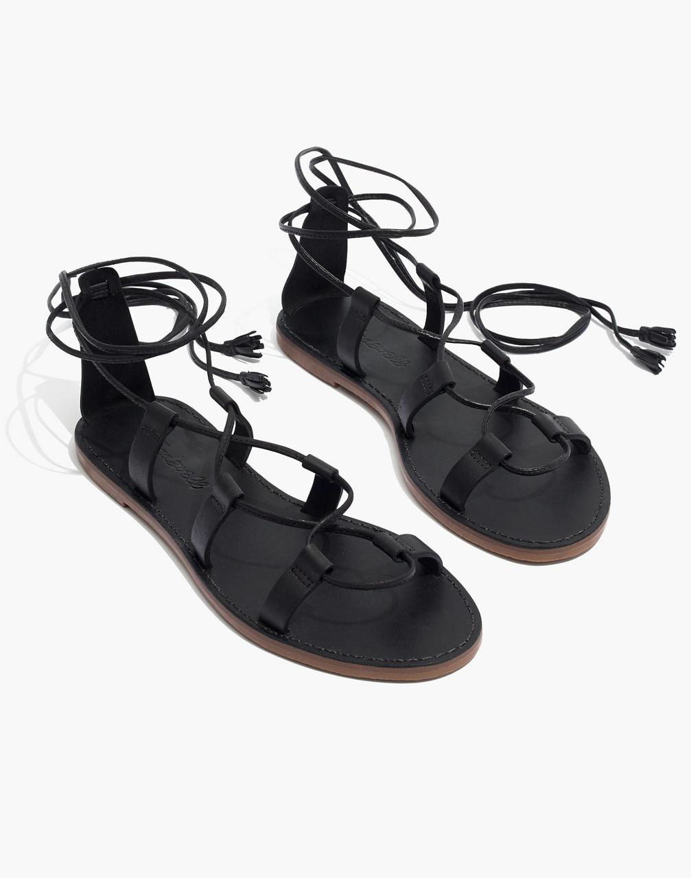 7bfd527d190 Lyst - Madewell The Boardwalk Lace-up Sandal in Black