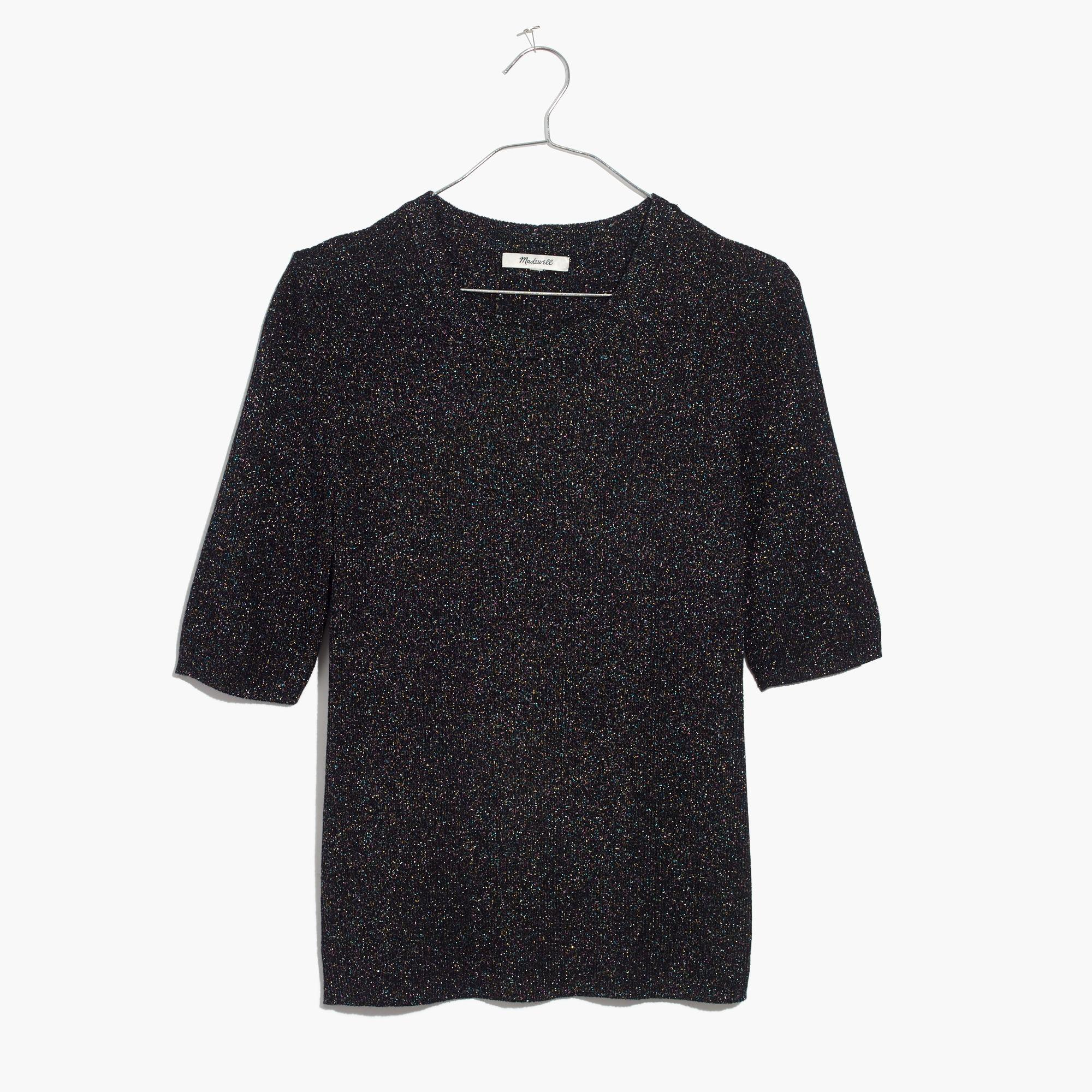 Madewell Evening Sparkle Ribbed Sweater Top in Black | Lyst