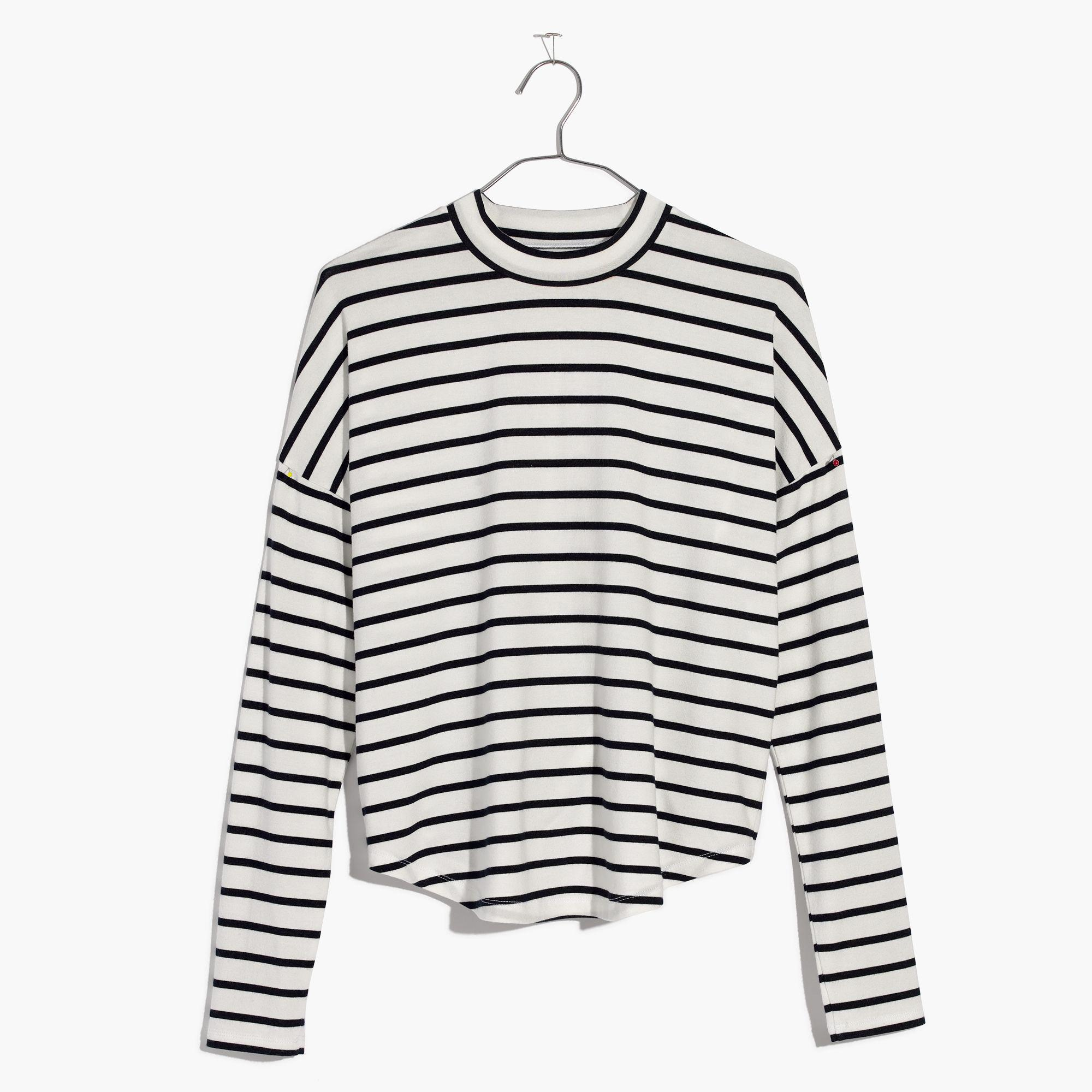 0890caa361 Madewell Sandwashed Long-sleeve Mockneck Top In Stripe in White - Lyst