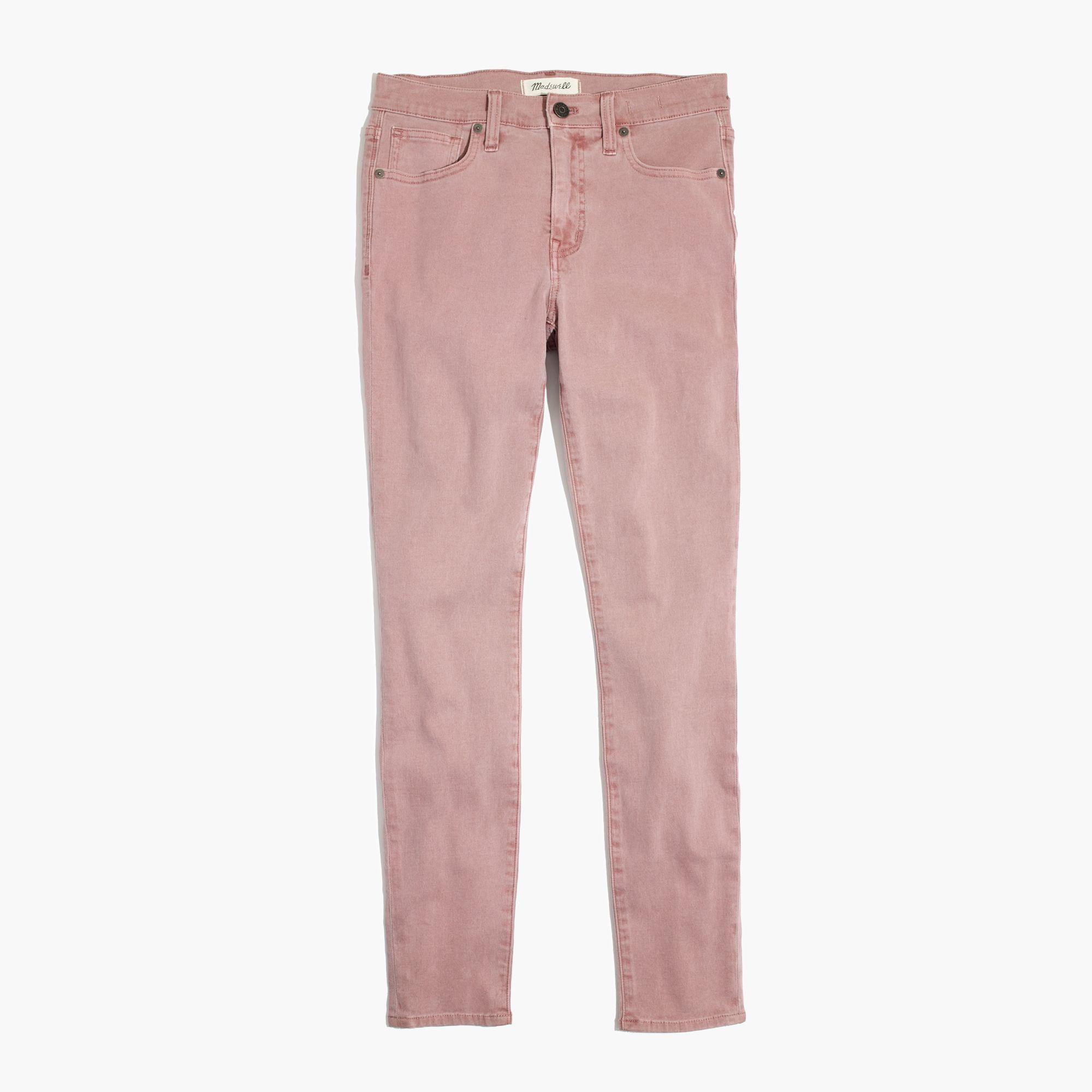 "Madewell Denim 9"" High-rise Skinny Crop Jeans: Garment-dyed Edition in Pink"