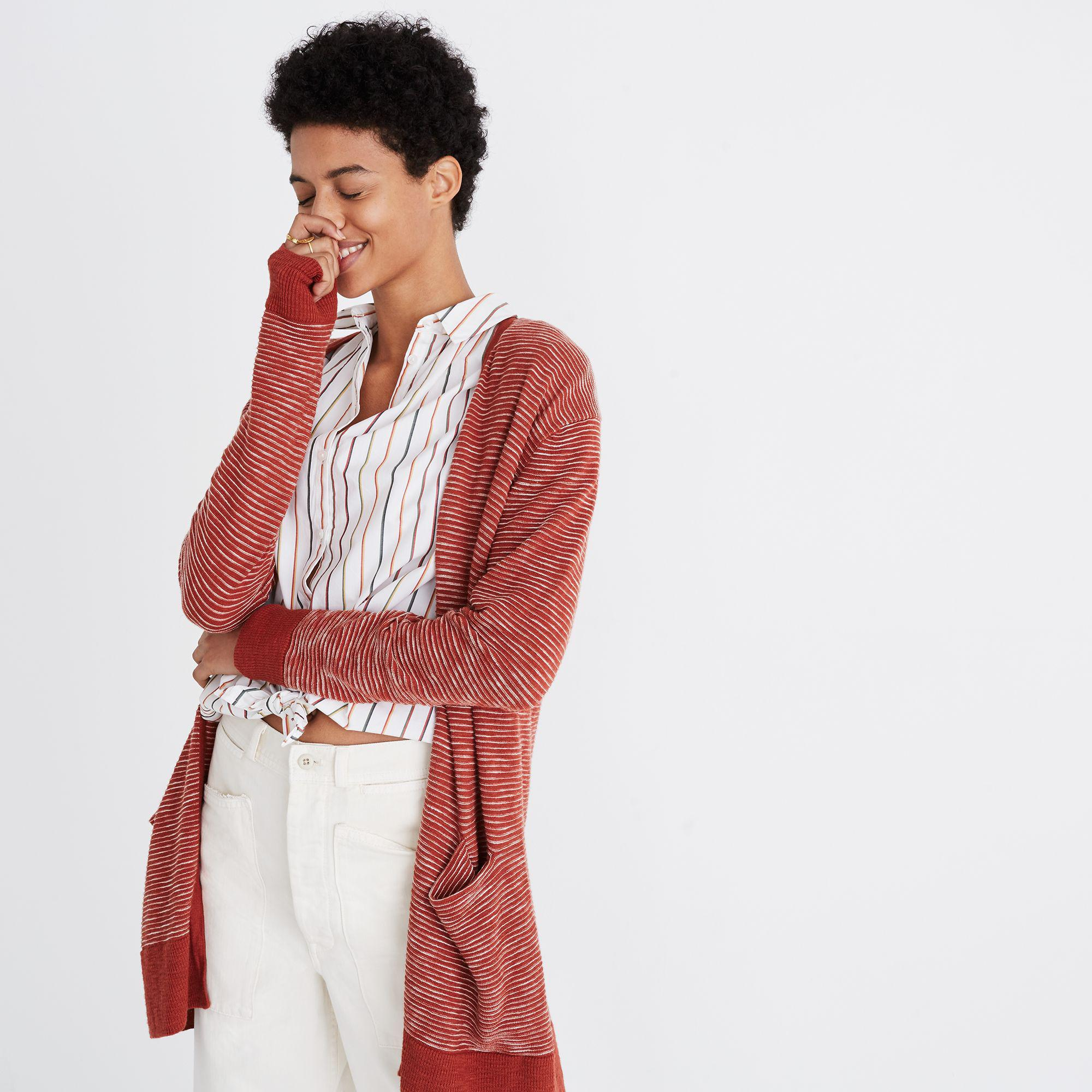 cf9aa0ca7d Lyst - Madewell Summer Ryder Cardigan Sweater In Stripe in Red