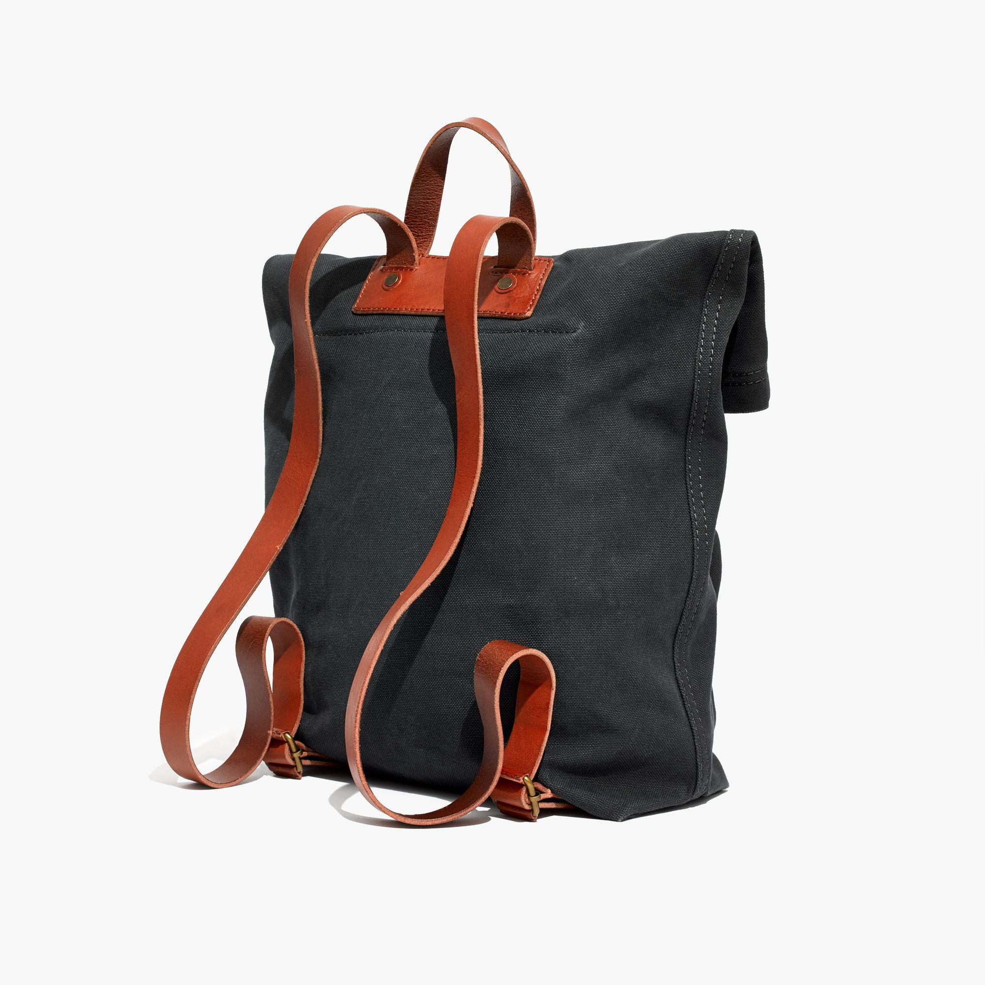 Madewell The Canvas Foldover Backpack in Black