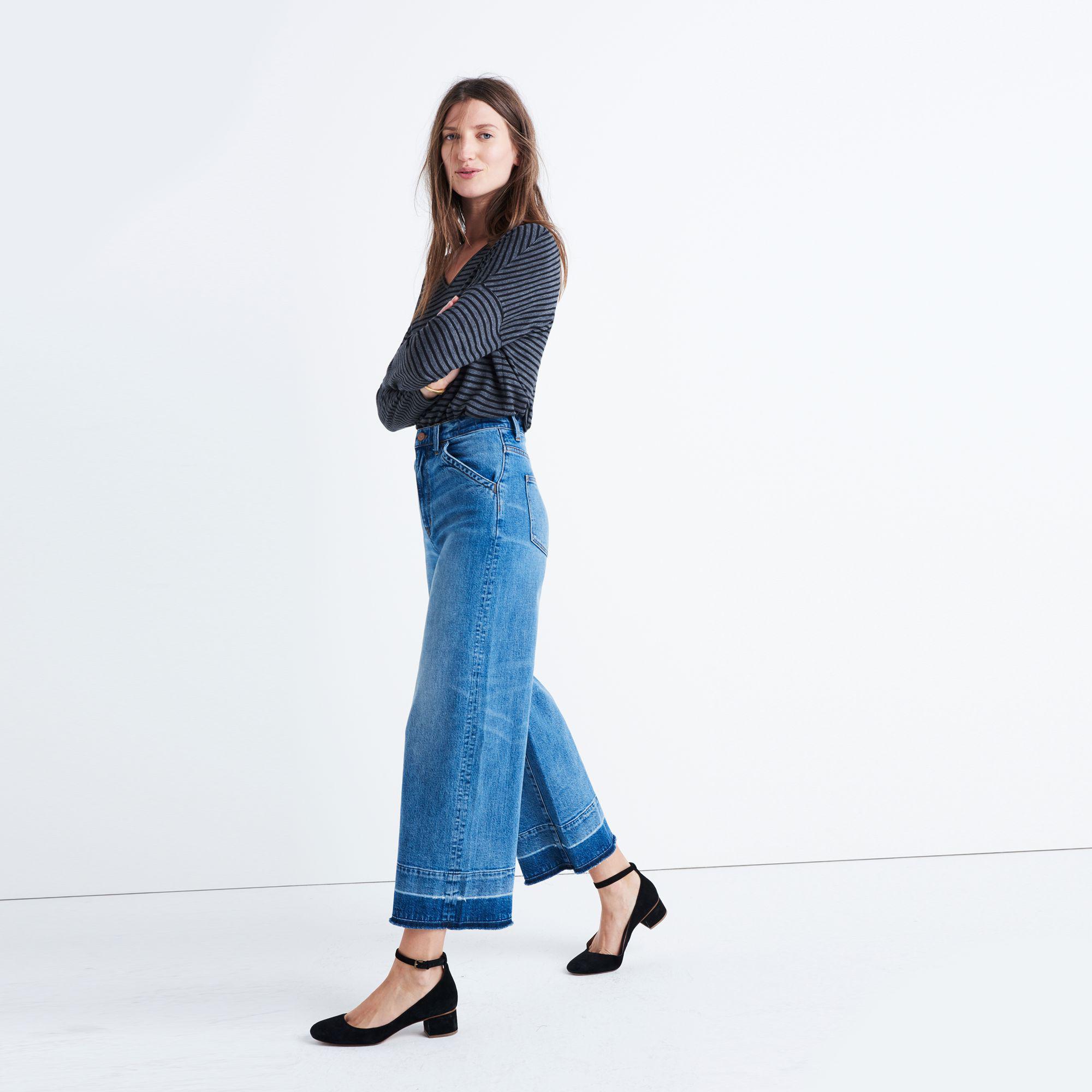 7ccb58b500a91 Lyst - Madewell Wide-leg Crop Jeans  Drop-hem Edition in Blue