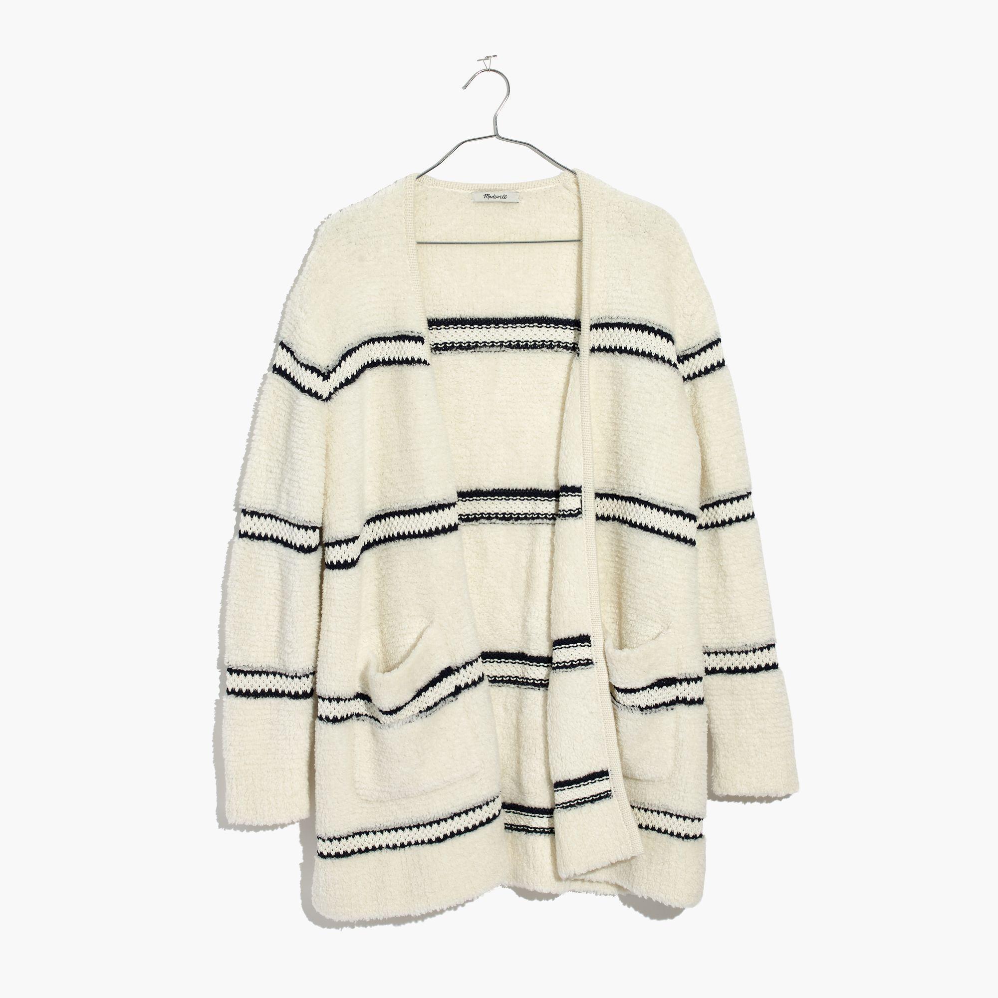 d5e57ec6c Madewell Striped Bouclé Cardigan Sweater in White - Lyst