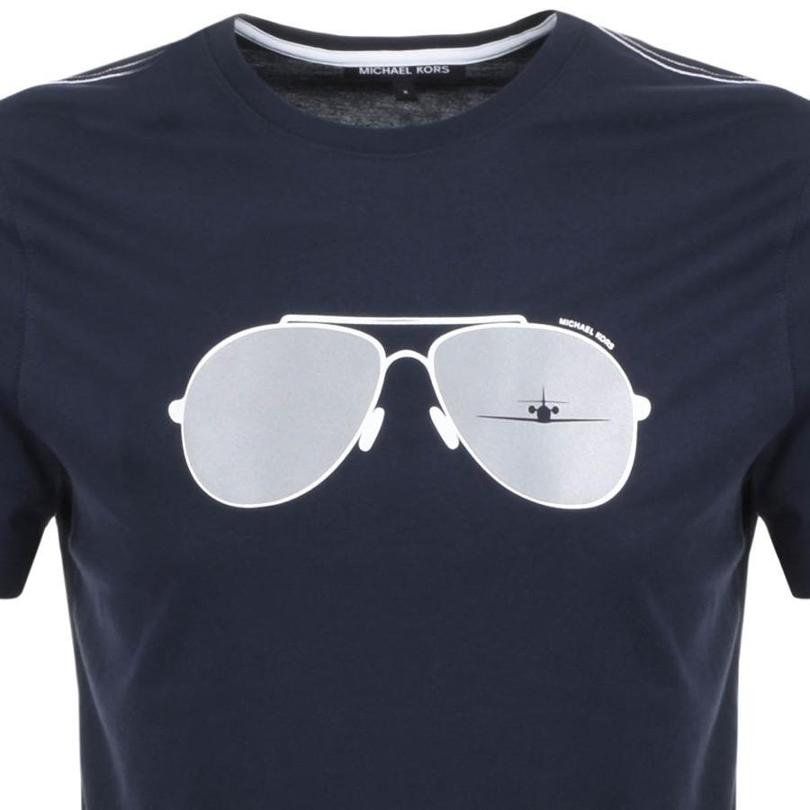 Michael Kors Cotton Aviator Graphic Logo T Shirt Navy in