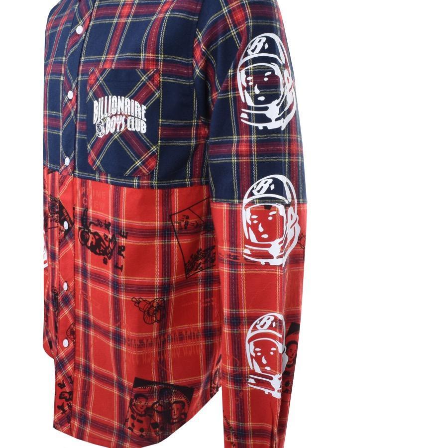 BBCICECREAM Cotton Mens Check Long Sleeve Shirt Navy Blue for Men