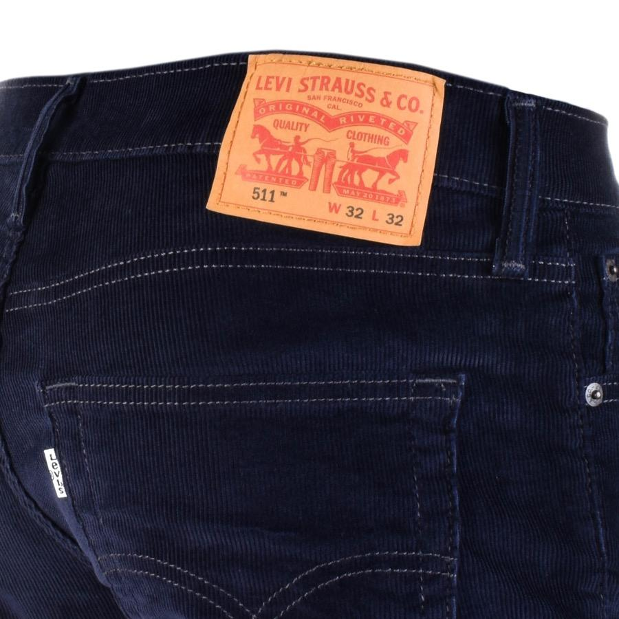 Levi's 511 Slim Fit Corduroy Trousers Navy in Blue for Men