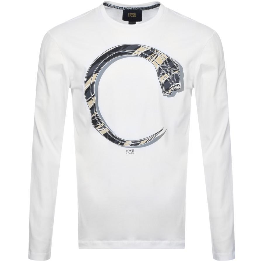 73031003 Just Cavalli Cavalli Class Long Sleeve Snake T Shirt White in White ...