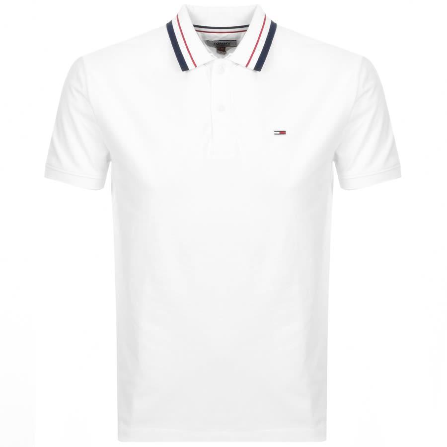 Tommy Hilfiger Mens Graham Tipped Jersey Polo Classic White LARGE