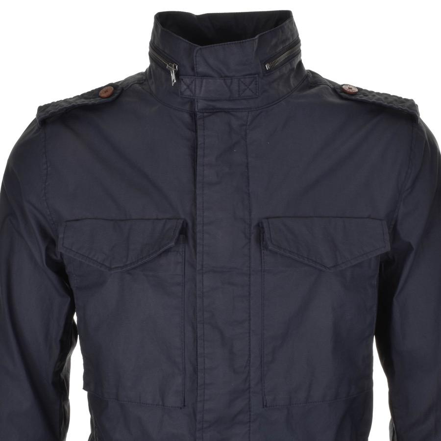 Pretty Green Leather Jetson Jacket Navy in Blue for Men