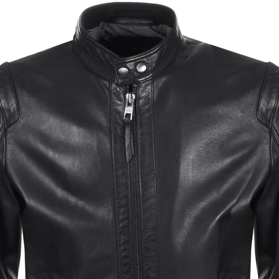 c6285a23356 BOSS by Hugo Boss Boss Orange Jaylo Leather Bomber Jacket Black in ...