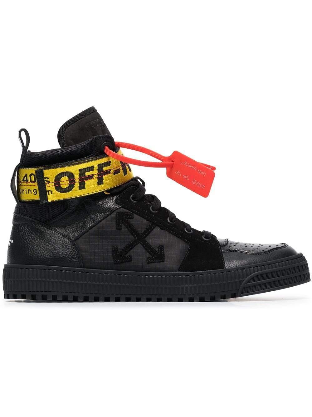 30466a397ea68 Lyst - Off-White c o Virgil Abloh Black Suede And Leather Hi-top ...