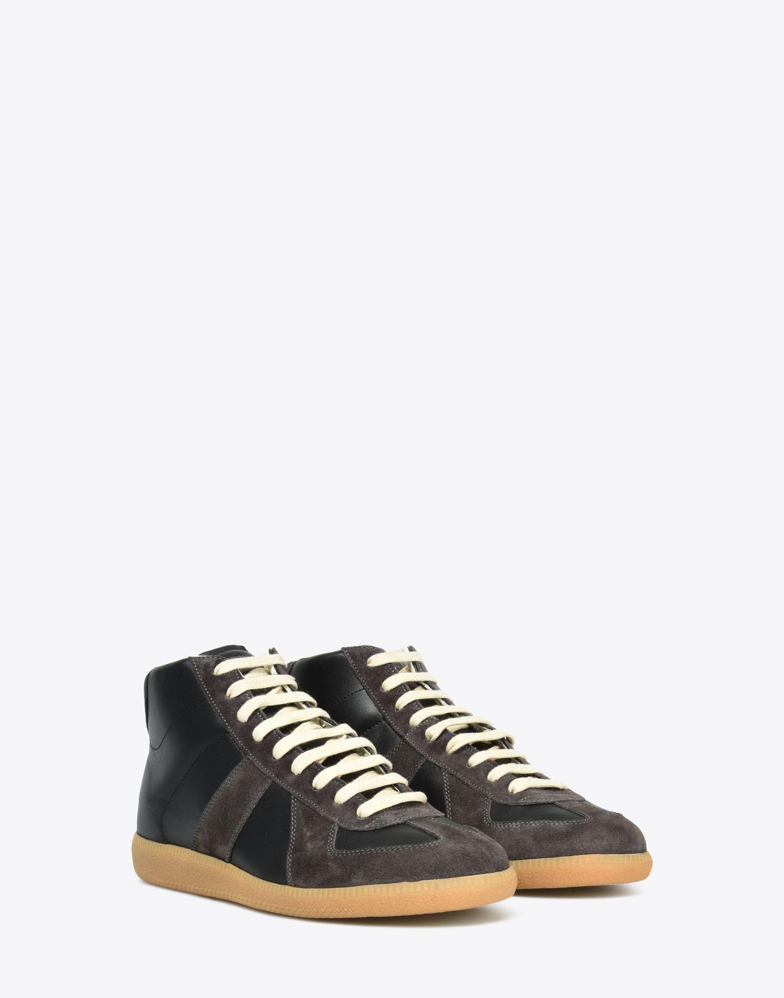 fd1a7046caa Men's Black High Top Calfskin Replica Sneakers
