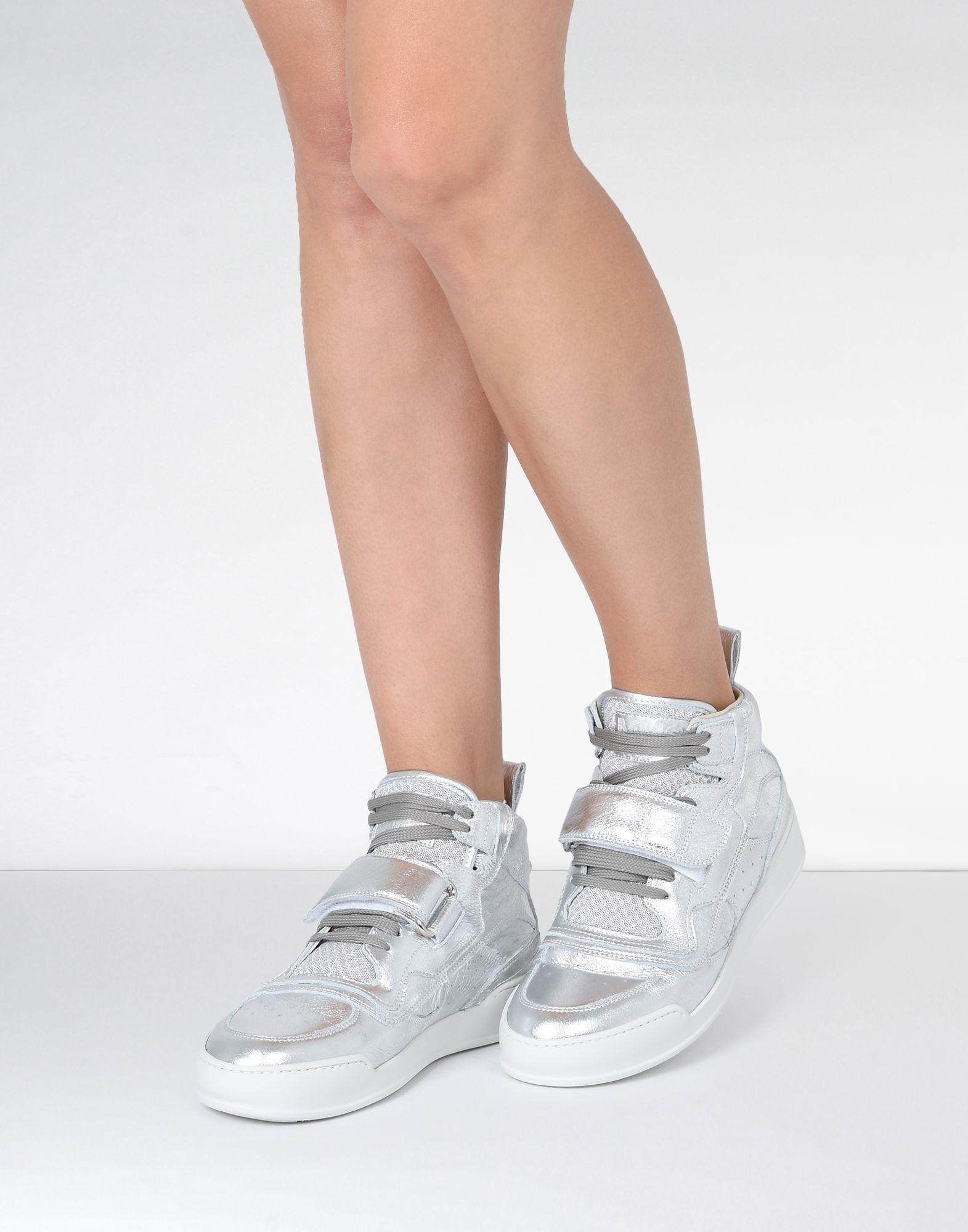 MM6 by Maison Martin Margiela Leather High Top Metallic Calfskin Sneakers
