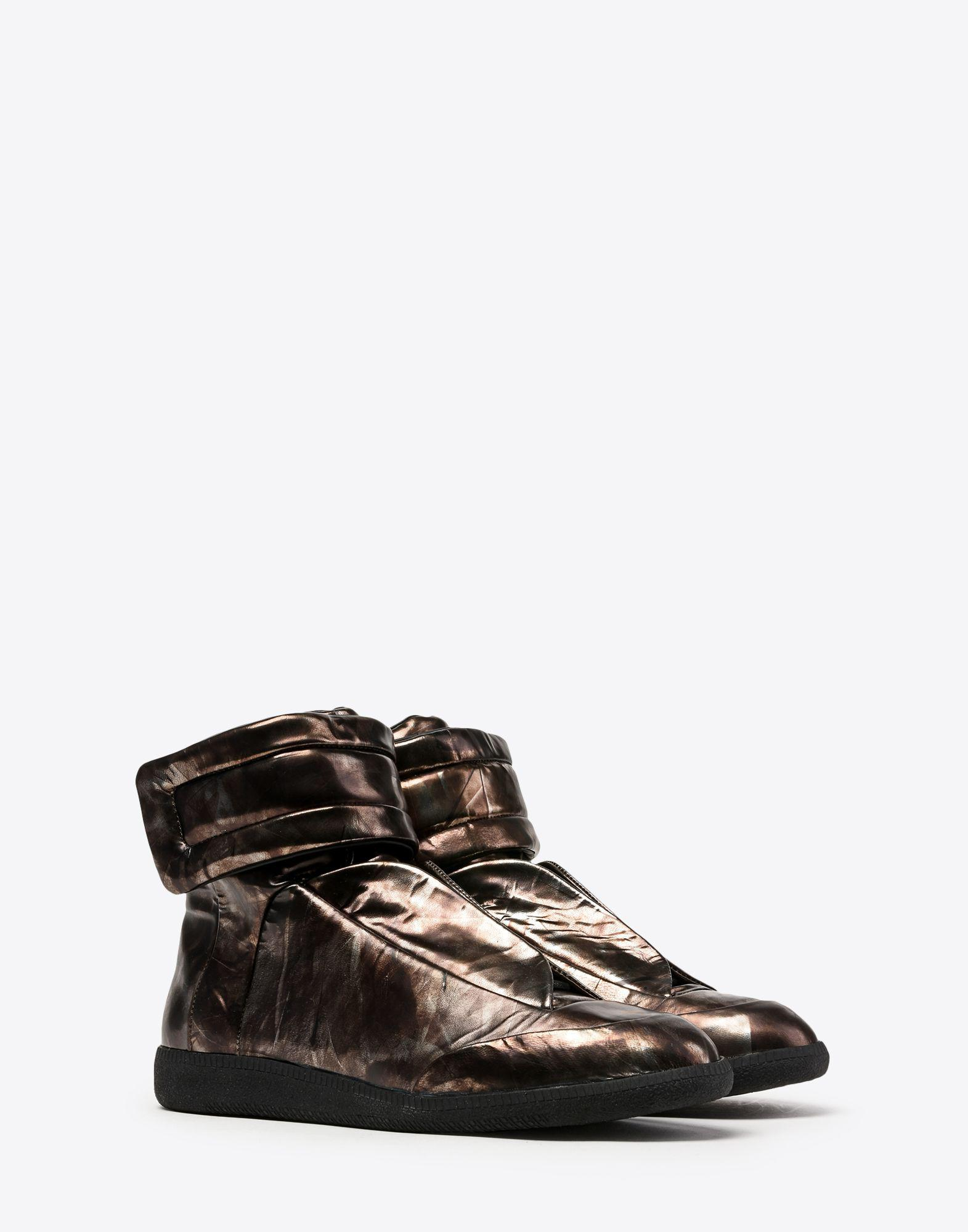 Maison Margiela Future High Top Sneakers In Metallic Leather in Steel Grey (Grey)
